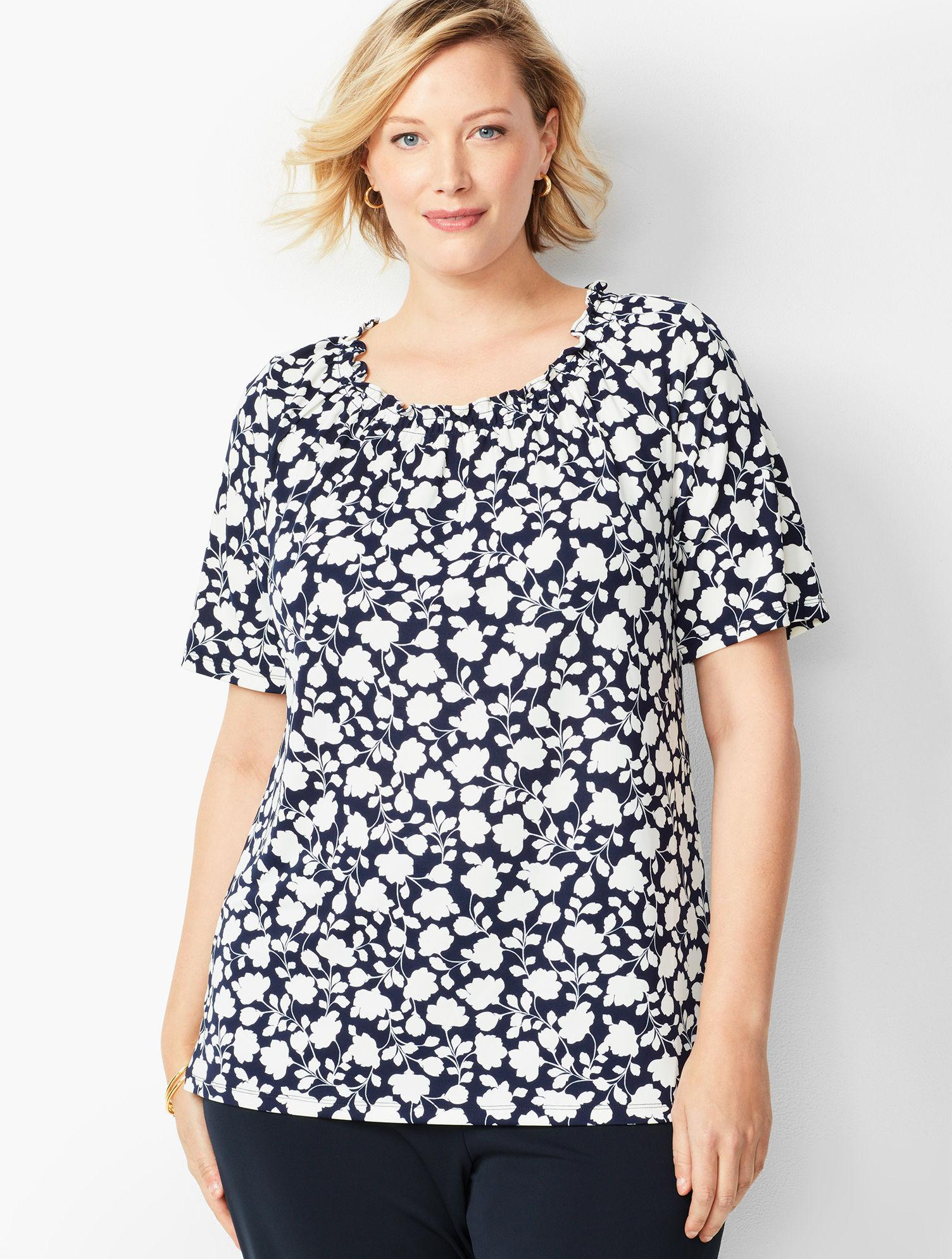 175d244249cdee Lyst - Talbots Plus Size Knit Jersey Gathered-neck Top in Blue