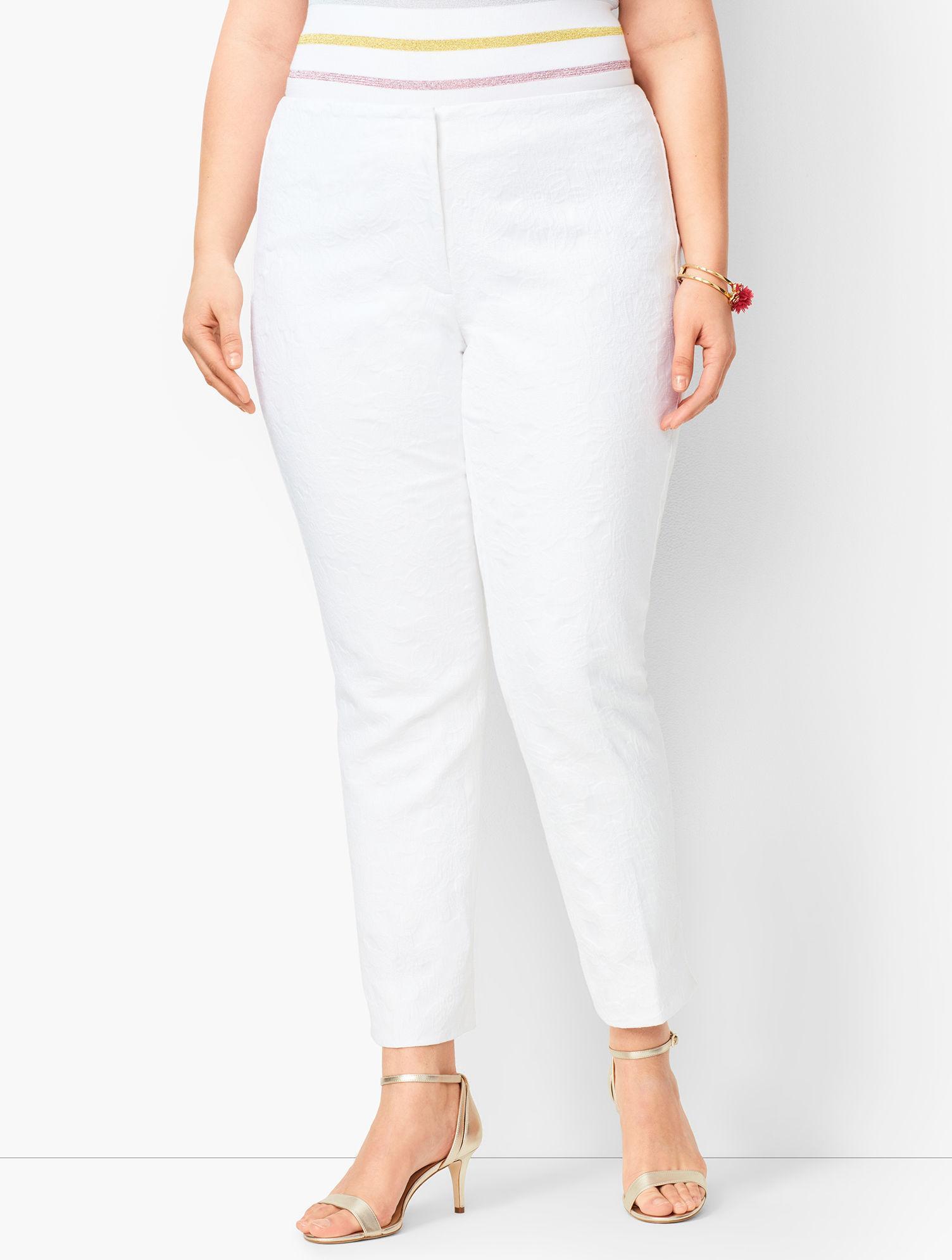 1baf0656f5 Talbots. Women s White Plus Size Matelassé Tailored Ankle Trousers