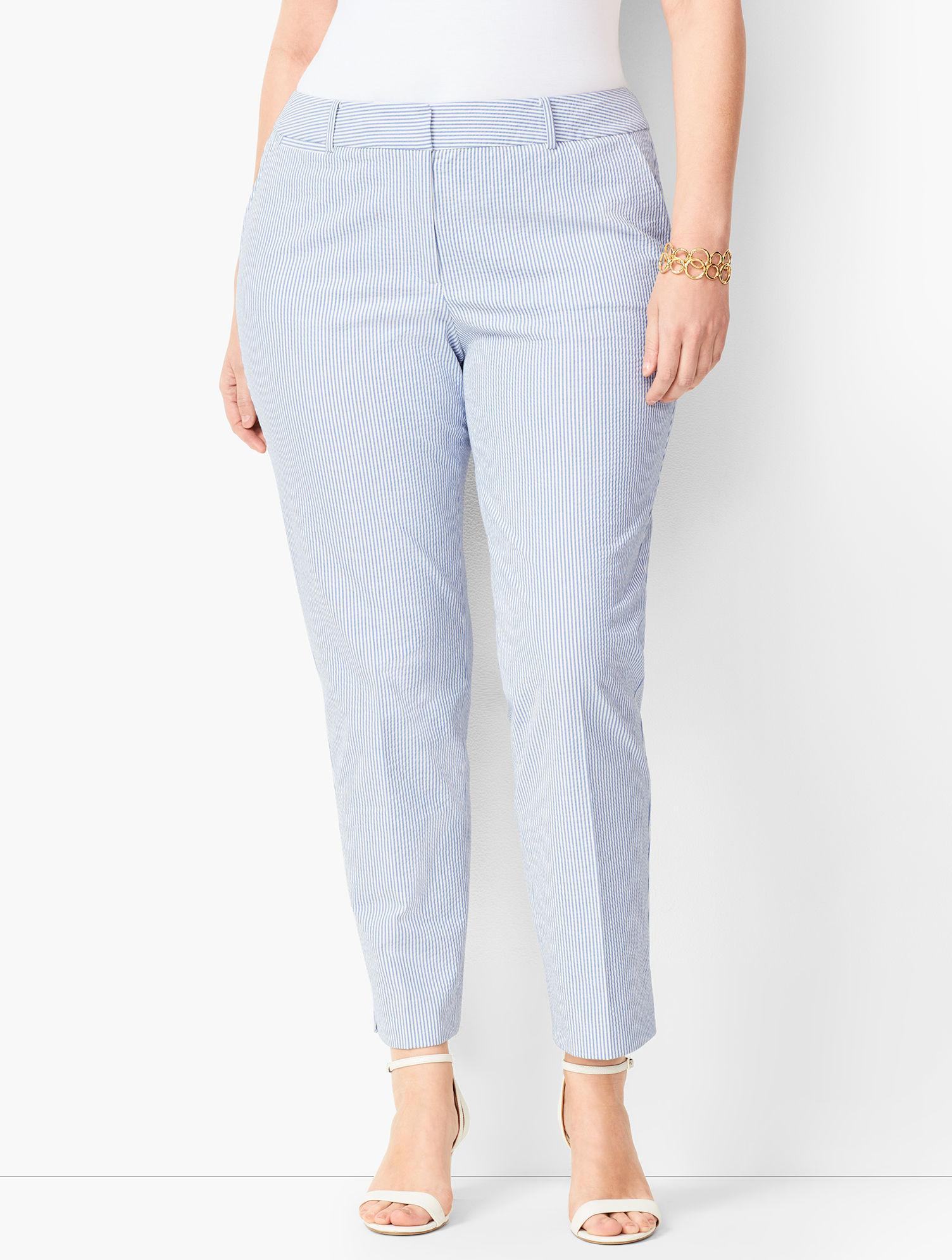 f8df51aadc97 Lyst - Talbots Plus Size Seersucker Slim Ankle Pants in Blue