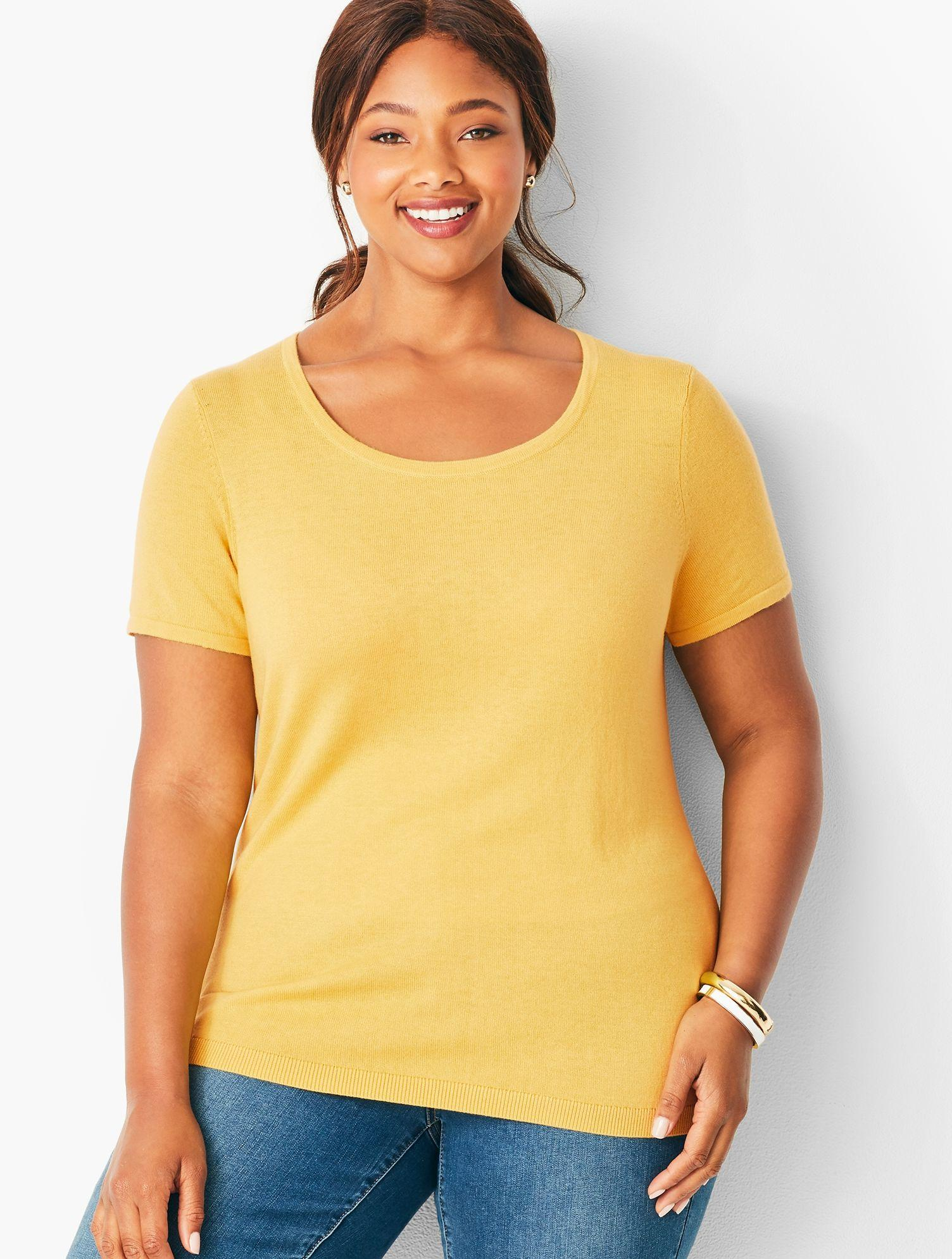 8e7d7b7d Lyst - Talbots Plus Size Short Sleeve Charming Shell in Yellow