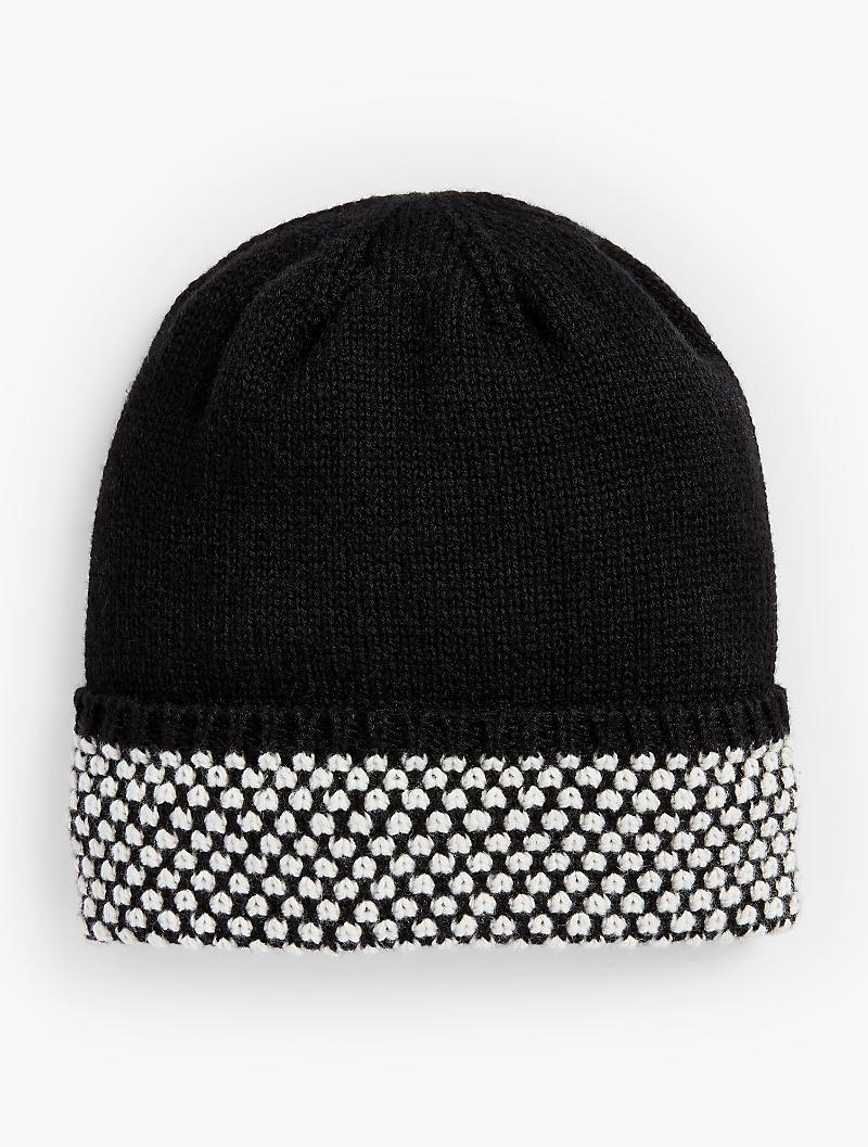 Lyst - Talbots Textured-cuff Winter Hat in Black 03bd78429924