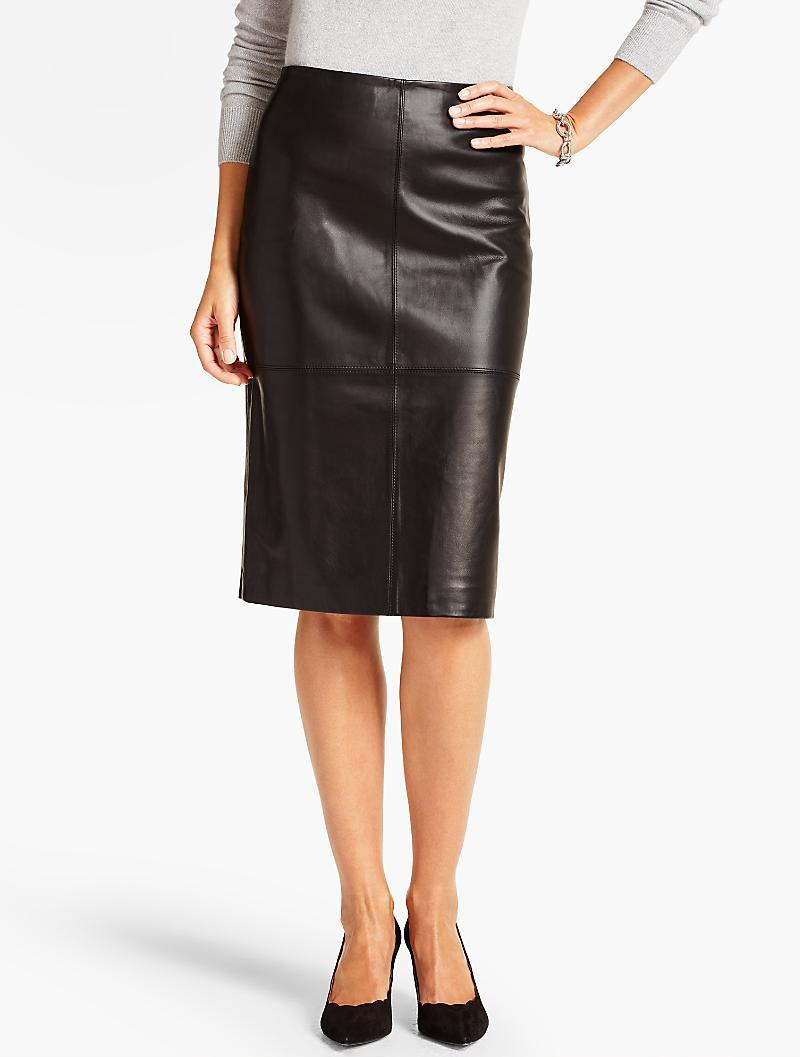 talbots luxe leather skirt in black lyst
