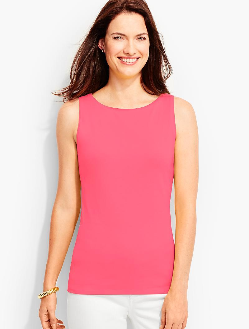 0b4c45326c76a2 Talbots Pima Cotton Sleeveless Bateau Shell-the Tee in Pink - Lyst