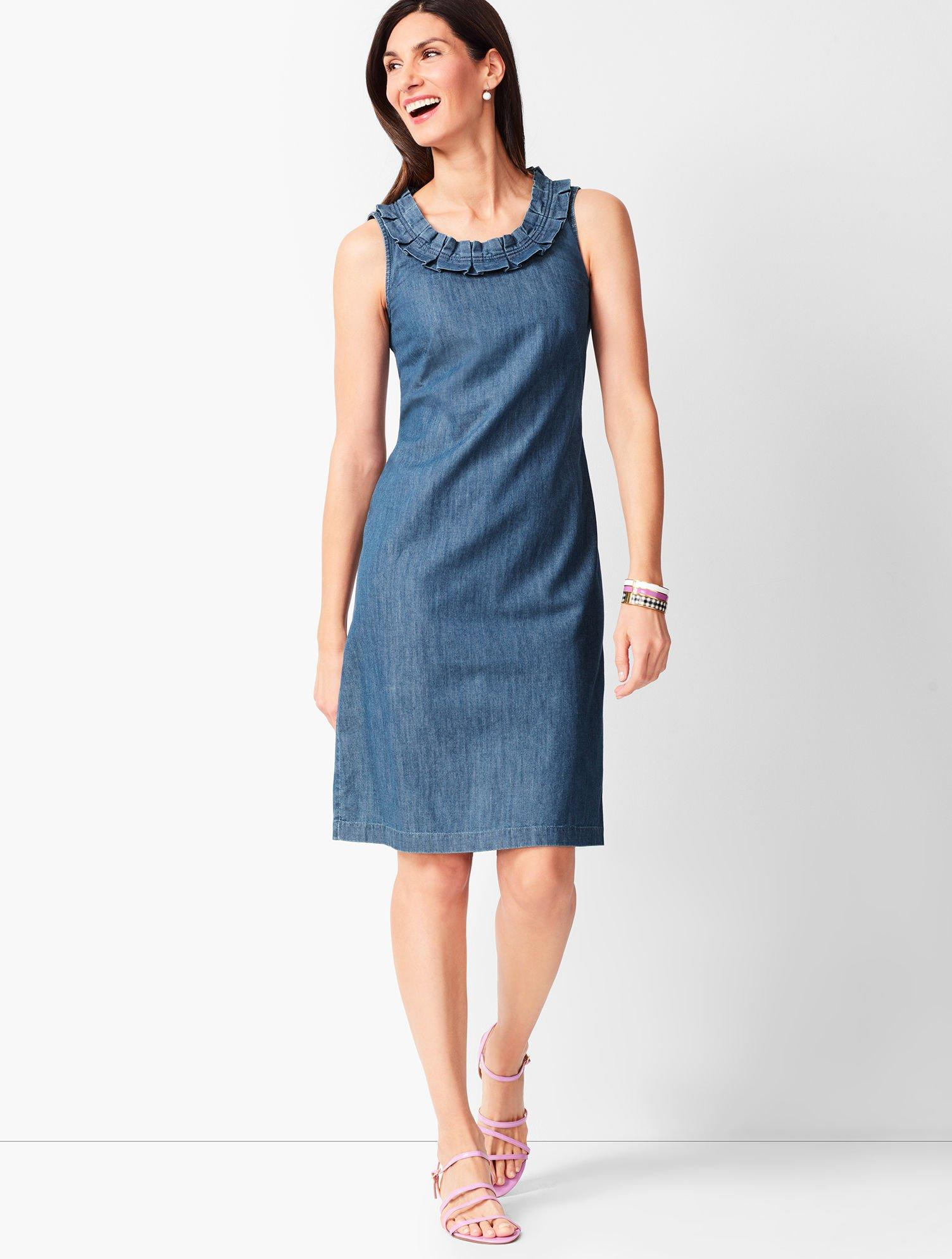 13e454c26847 Lyst - Talbots Denim Shift Dress in Blue