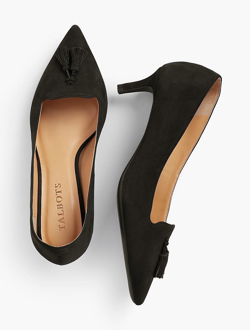14397a97daa Lyst - Talbots Erica Tasseled Kitten-heel Pumps-kid-suede in Black