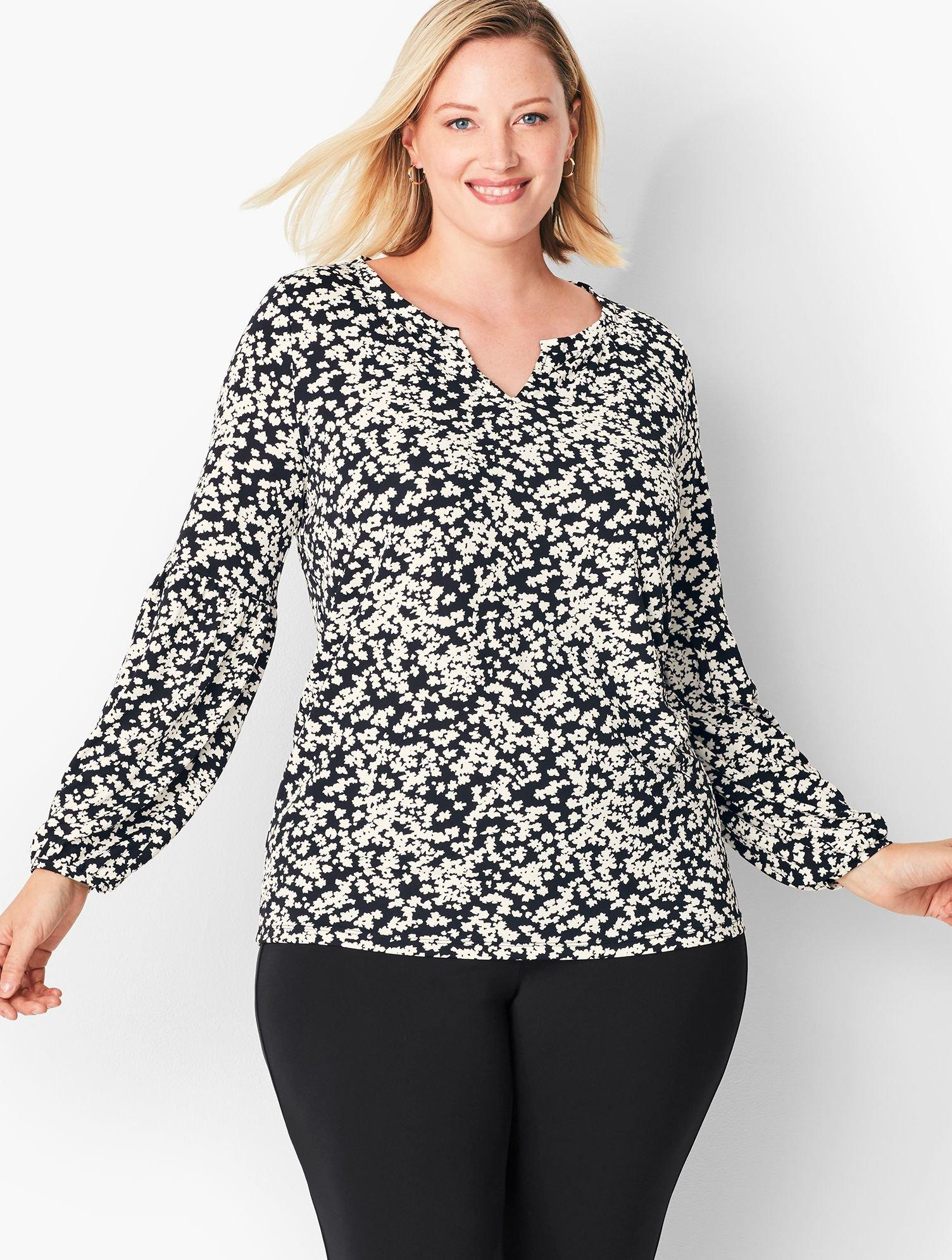 ae2c842f4bcfbb Lyst - Talbots Plus Size Exclusive Split-neck Floral Tunic in Black