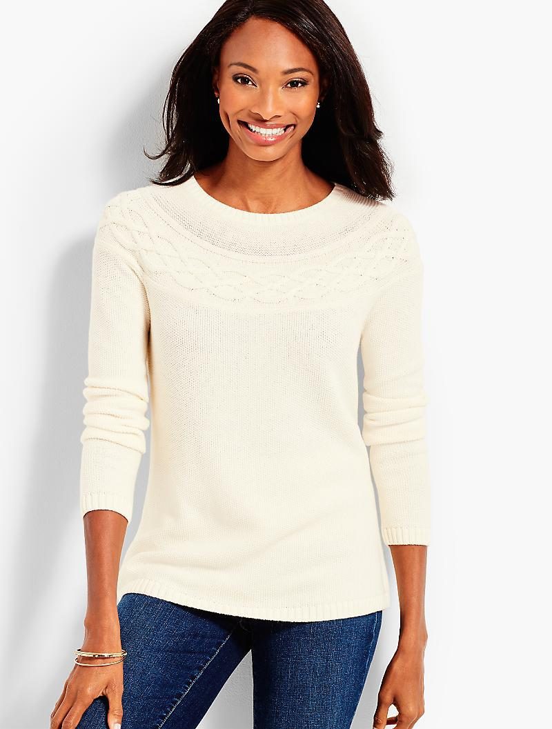 dc1194a76 Lyst - Talbots Cable Yoke Sweater in White