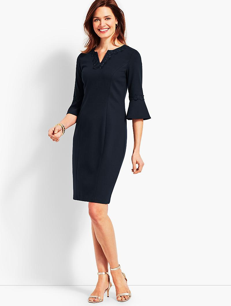 b0f9eed986 Lyst - Talbots Embroidered Flounce-sleeve Shift Dress in Blue