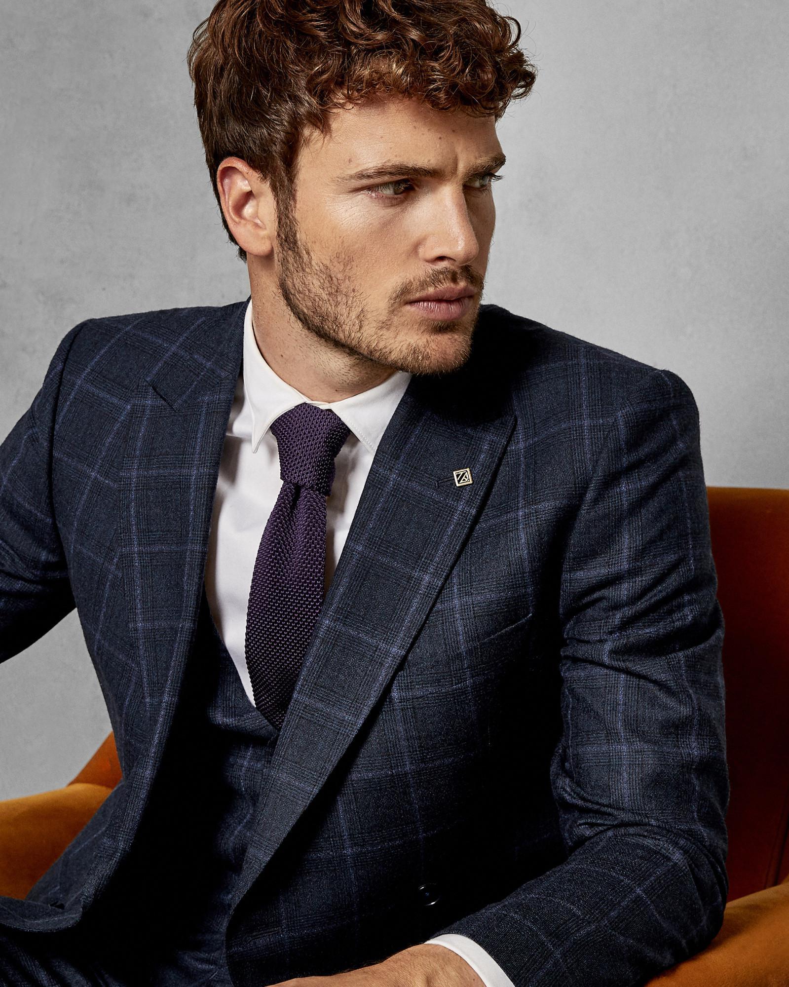 19d378e892a3 Debonair slim plain wool suit jacket Light Blue Suits Ted Baker