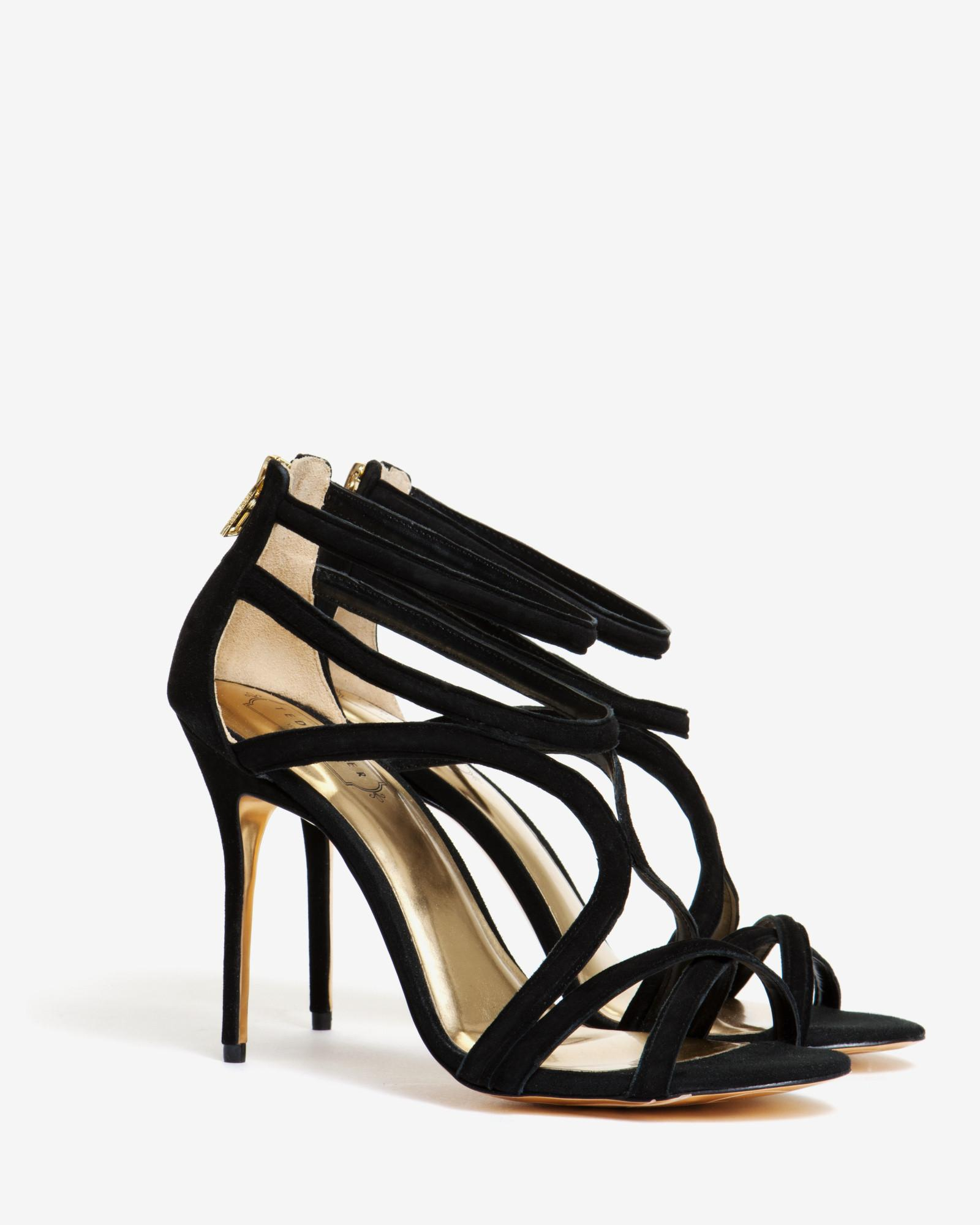 b3ac2f4b410 Ted Baker Suede Wrap Around Gladiator Sandals in Black - Lyst