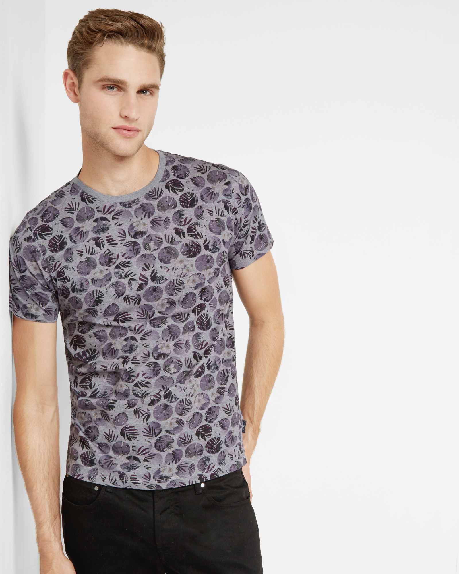 Lyst ted baker floral spotted cotton t shirt in purple for Ted baker floral shirt