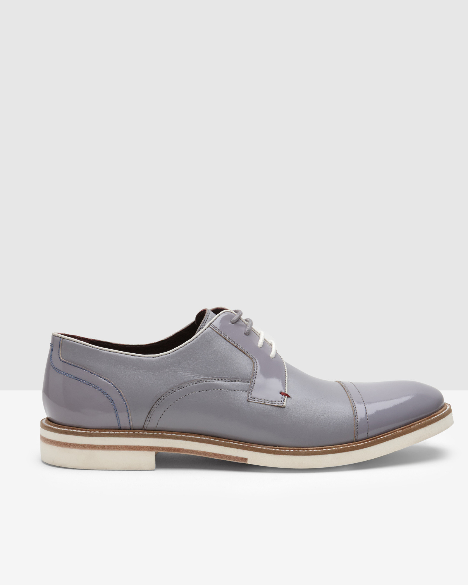 27fa5d81a Lyst - Ted Baker High-shine Leather Derby Brogues in Gray for Men