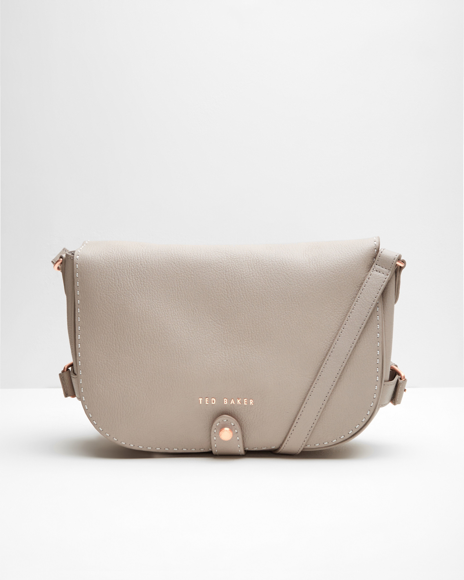 e5993bf67cc Ted Baker Leather Crossbody Saddle Bag in Natural - Lyst