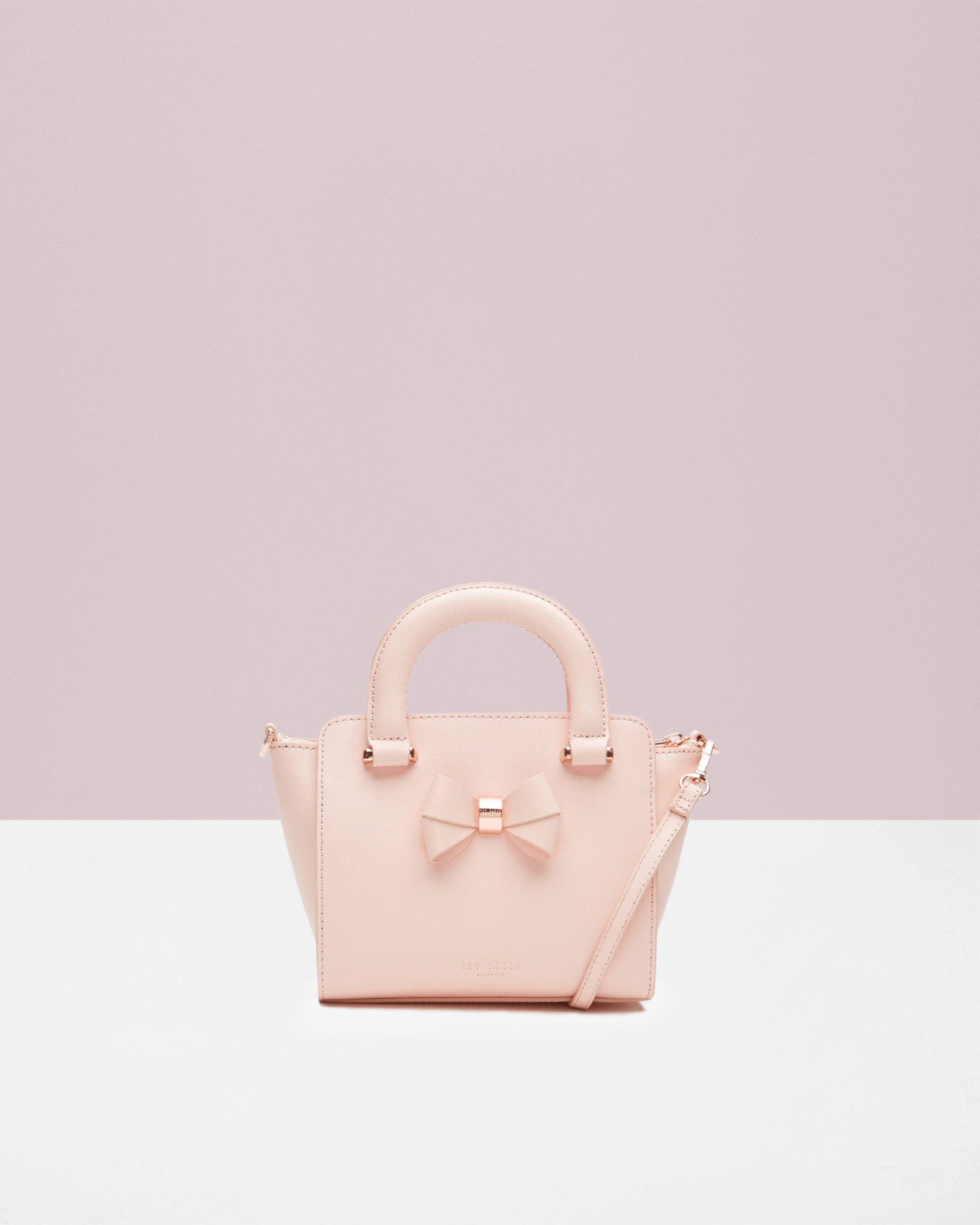c504e874d5a391 Lyst - Ted Baker Mini Bow Crosshatch Leather Shopper Bag in Pink
