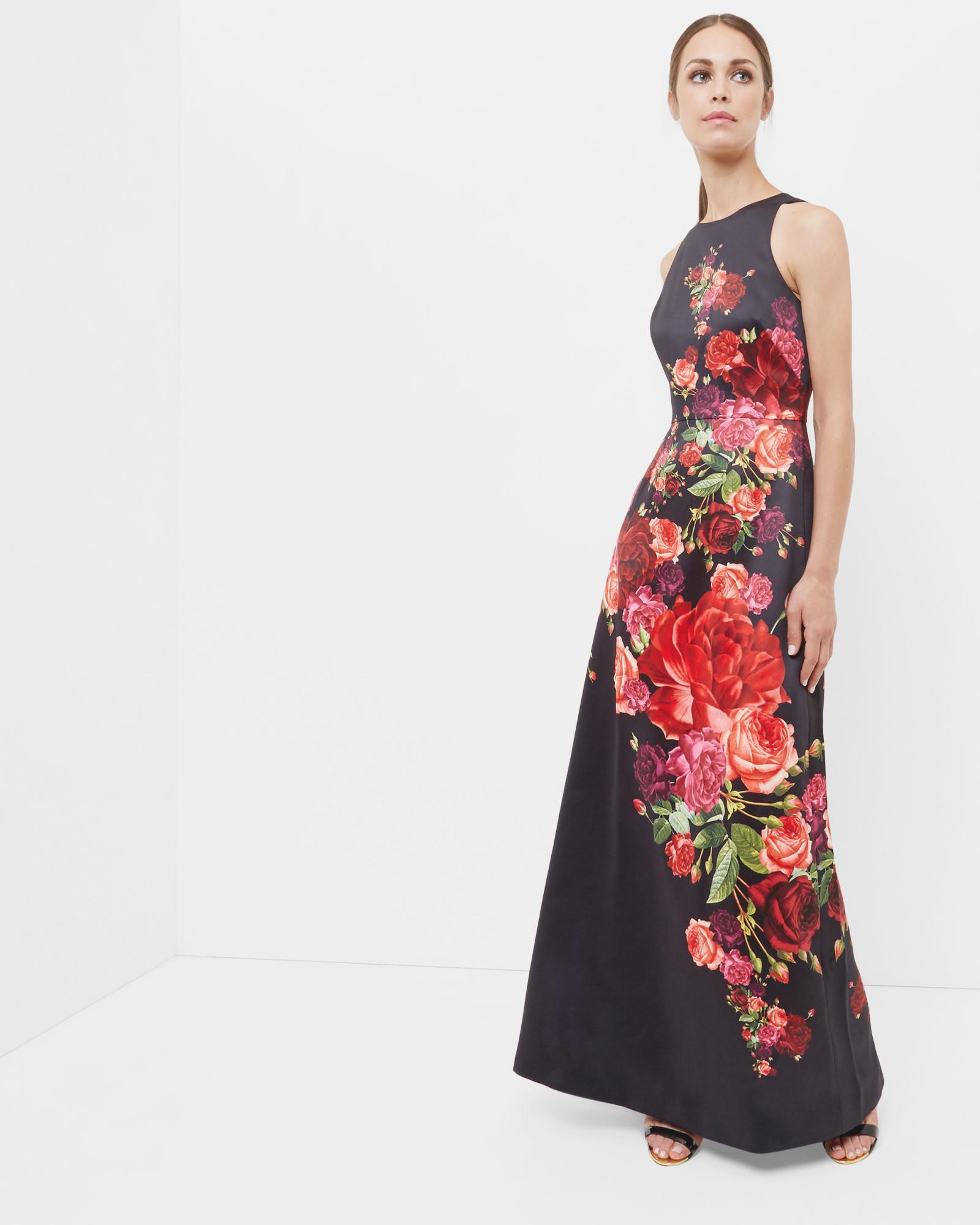 6e7e5cb80ea7c Lyst - Ted Baker Marico Juxtapose Rose Maxi Dress in Black