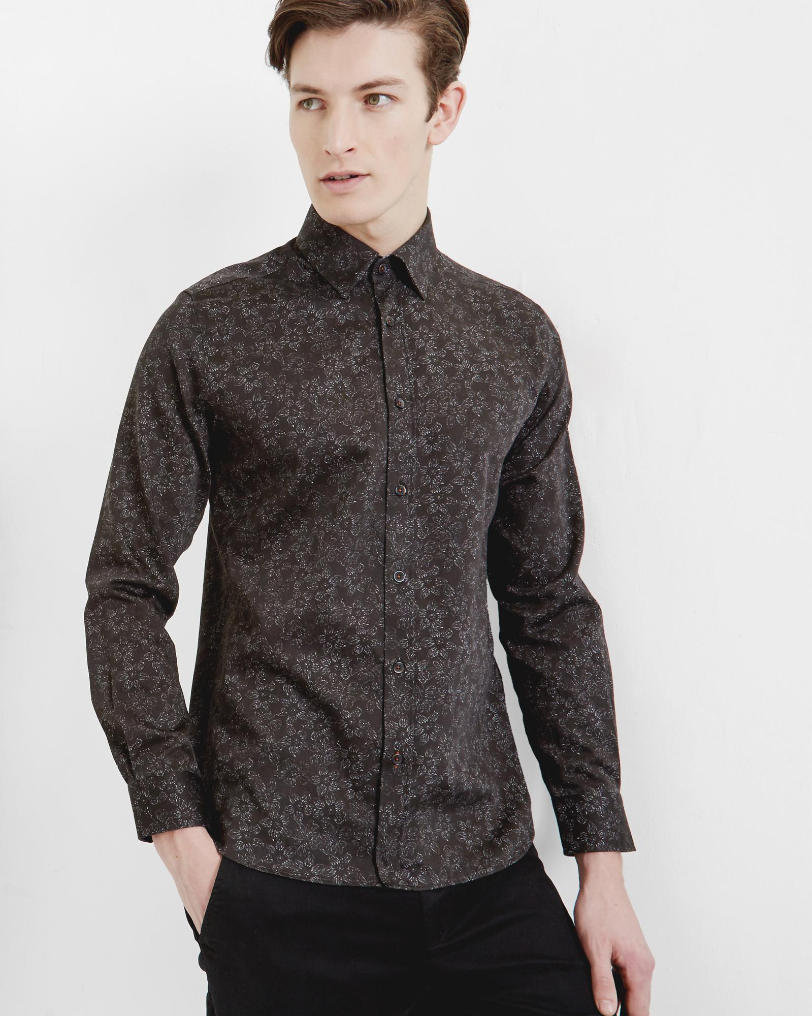 Ted Baker Faded Floral Print Cotton Shirt In Black For Men