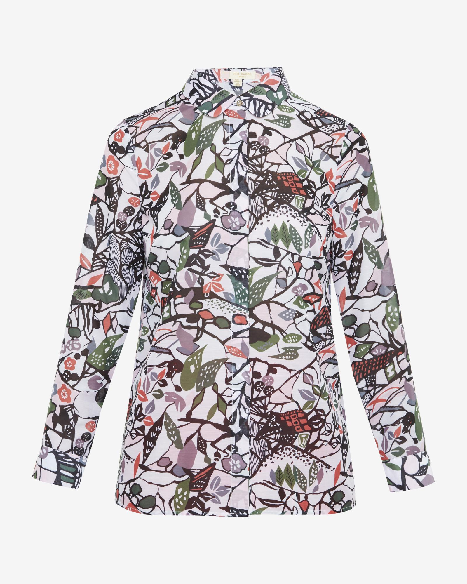 Ted baker peter pan collar floral print shirt in gray lyst for Ted baker floral print shirt
