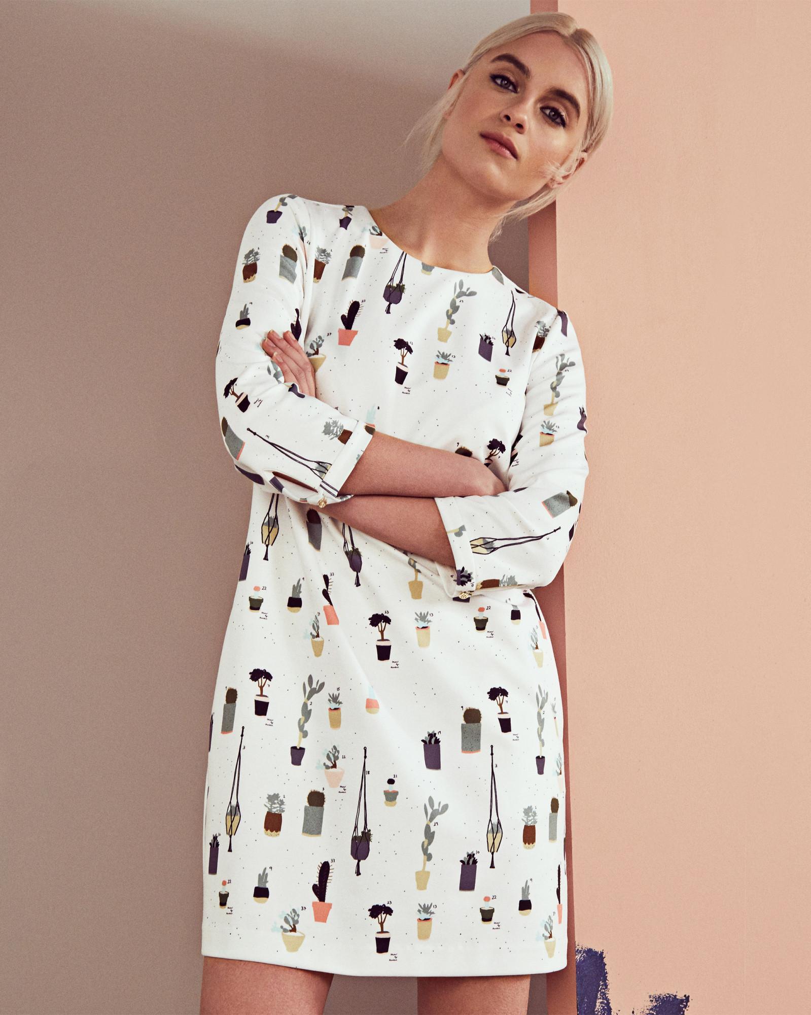 8f76cb8fe613 Lyst - Ted Baker Cactus Print Shift Dress in White