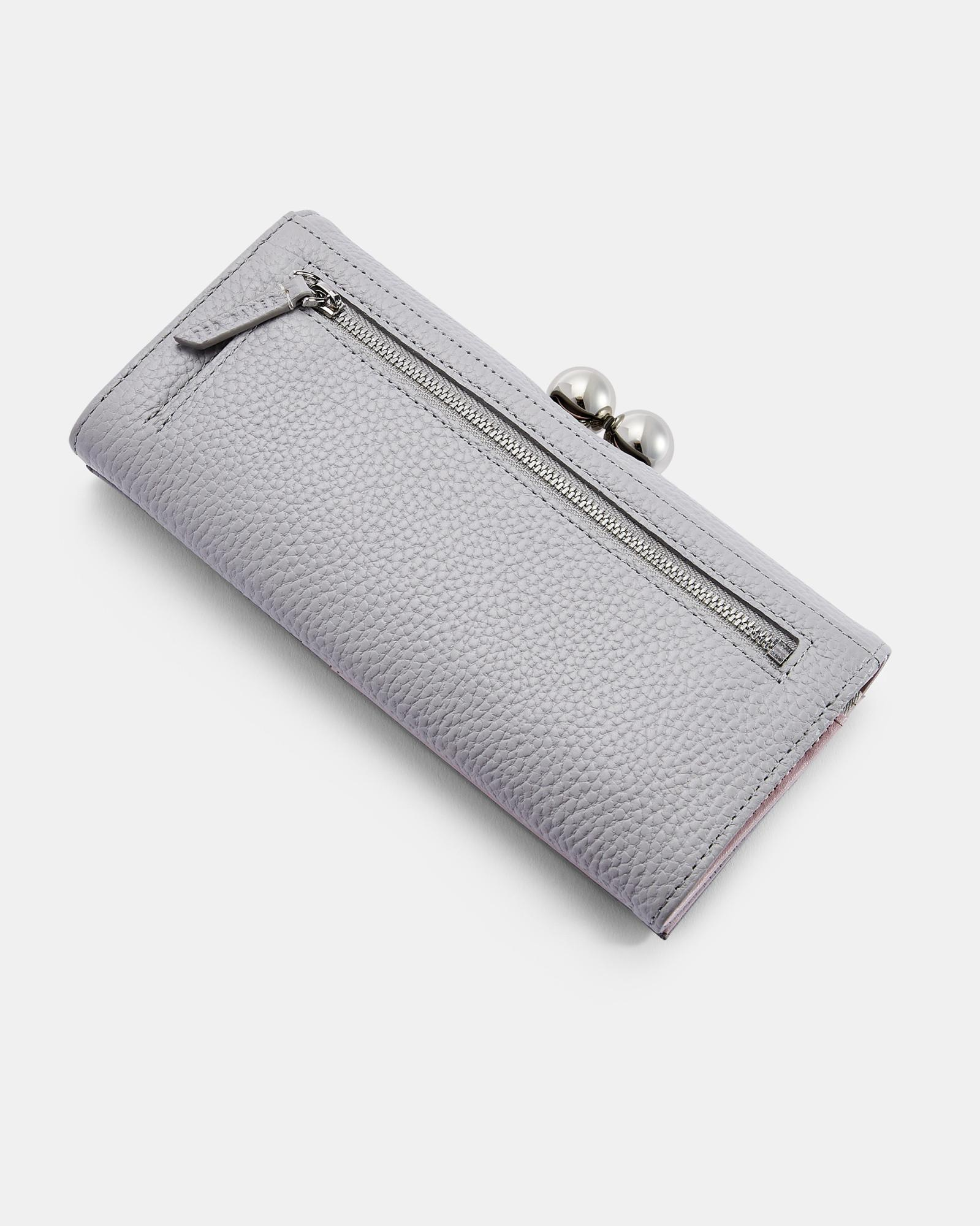 1d1a4e2b330b Lyst - Ted Baker Scripted Leather Bobble Matinee Purse in Gray