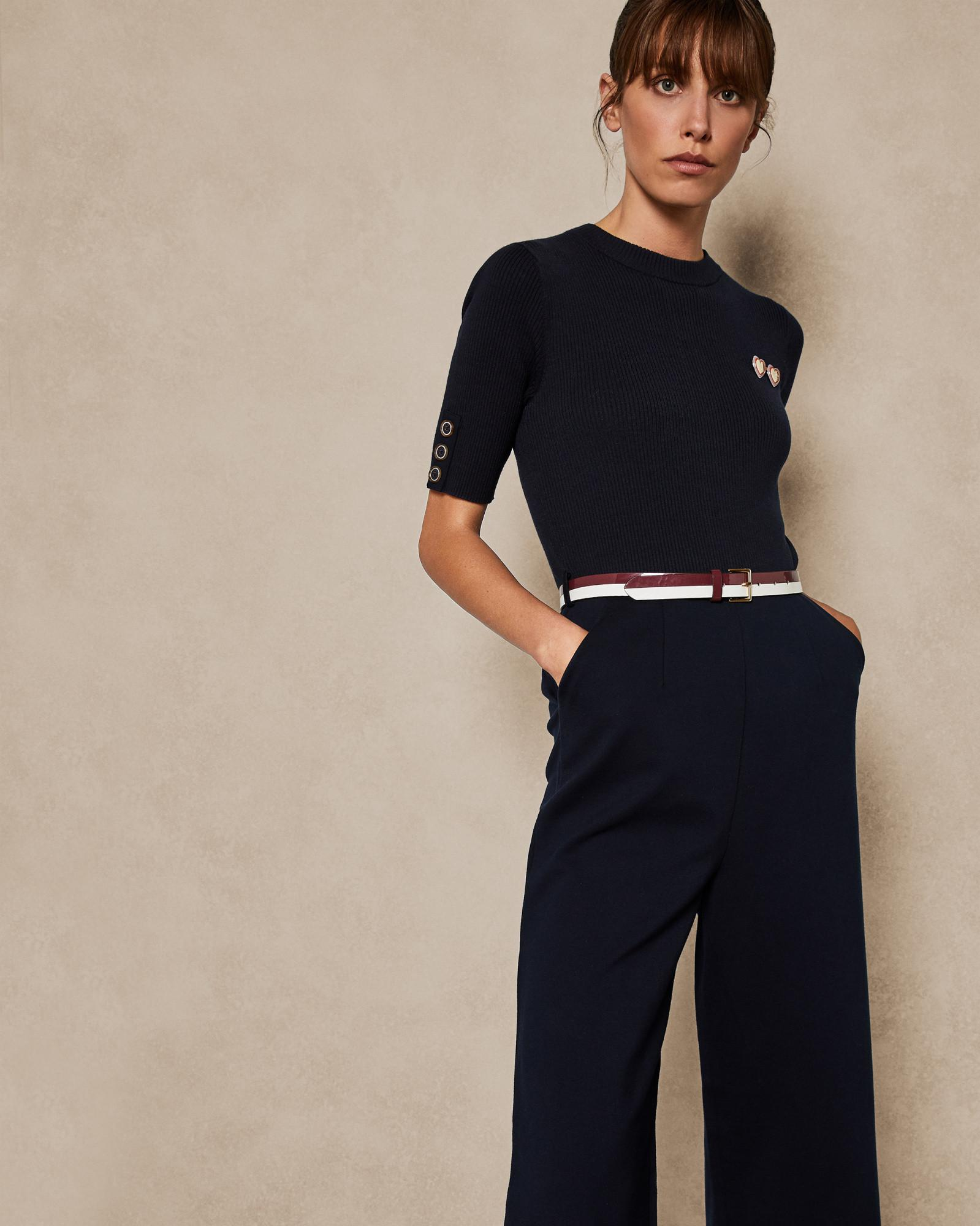 8b509421899 Lyst - Ted Baker Knit Woven Jumpsuit in Blue