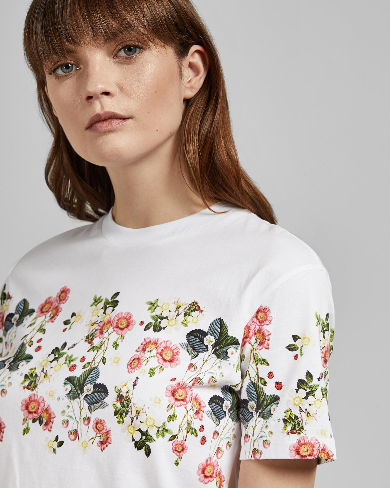 53a0a0434 Ted Baker Oracle Printed Cotton T-shirt in White - Lyst