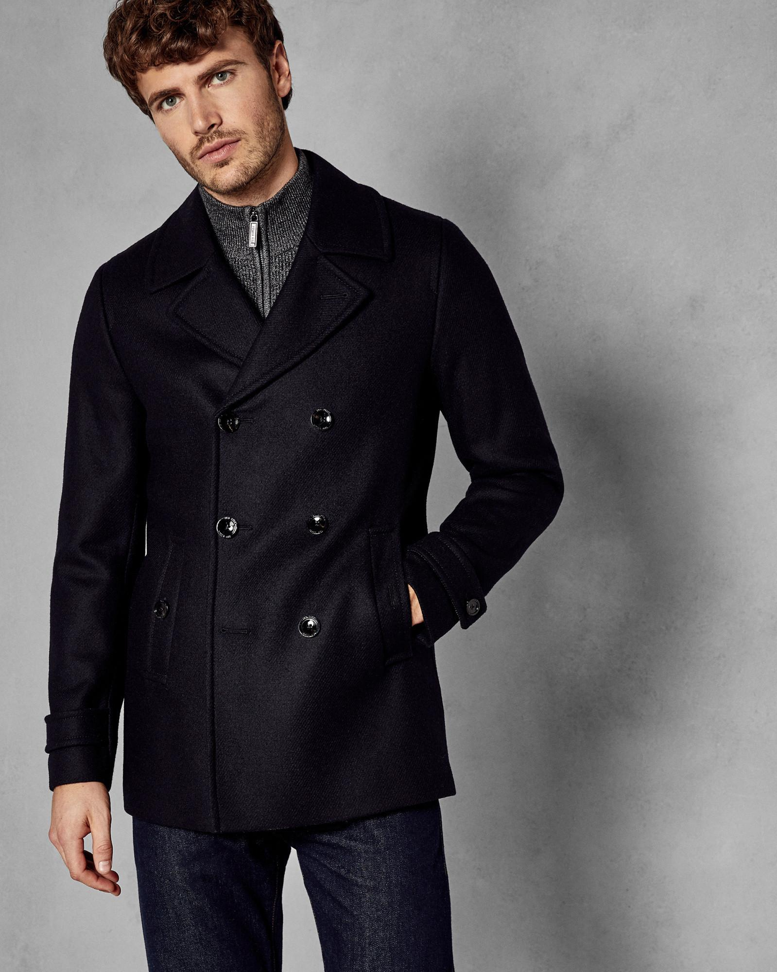 fead70d81 Ted Baker Double Breasted Wool Pea Coat in Blue for Men - Lyst