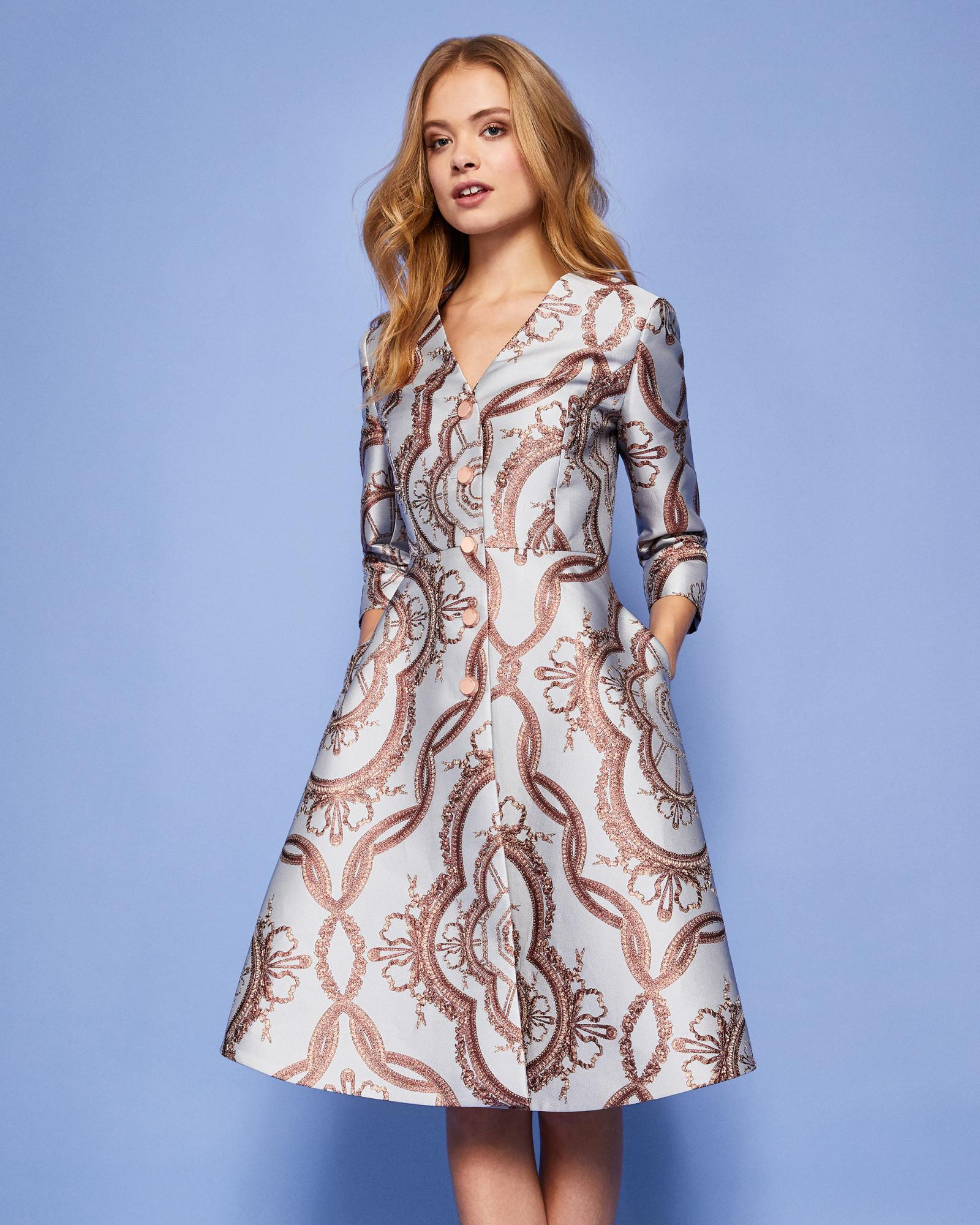Ted Baker Versailles Jacquard Dress Coat in Blue - Lyst 8fa980bd2