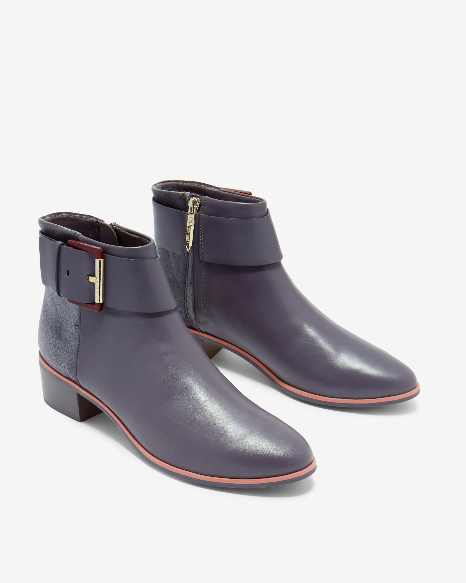 6fcba5c9d3aa Lyst - Ted Baker Leather Ankle Boots in Gray