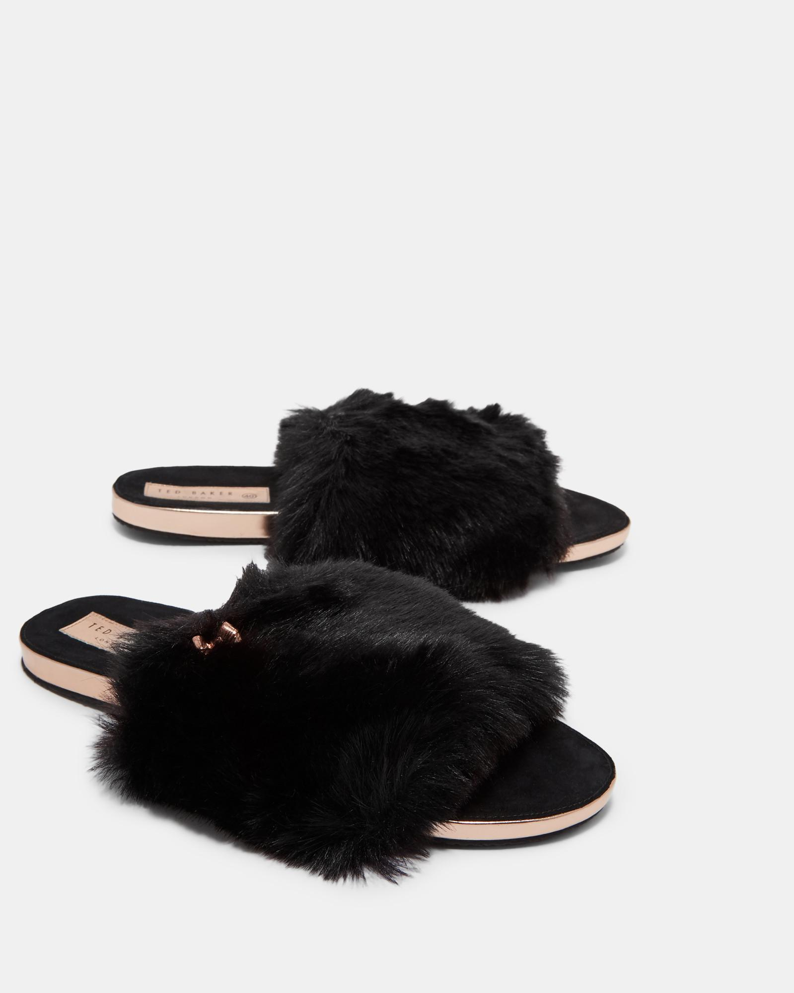 55c713ce541f6a Ted Baker Faux Fur Sliders in Black - Lyst