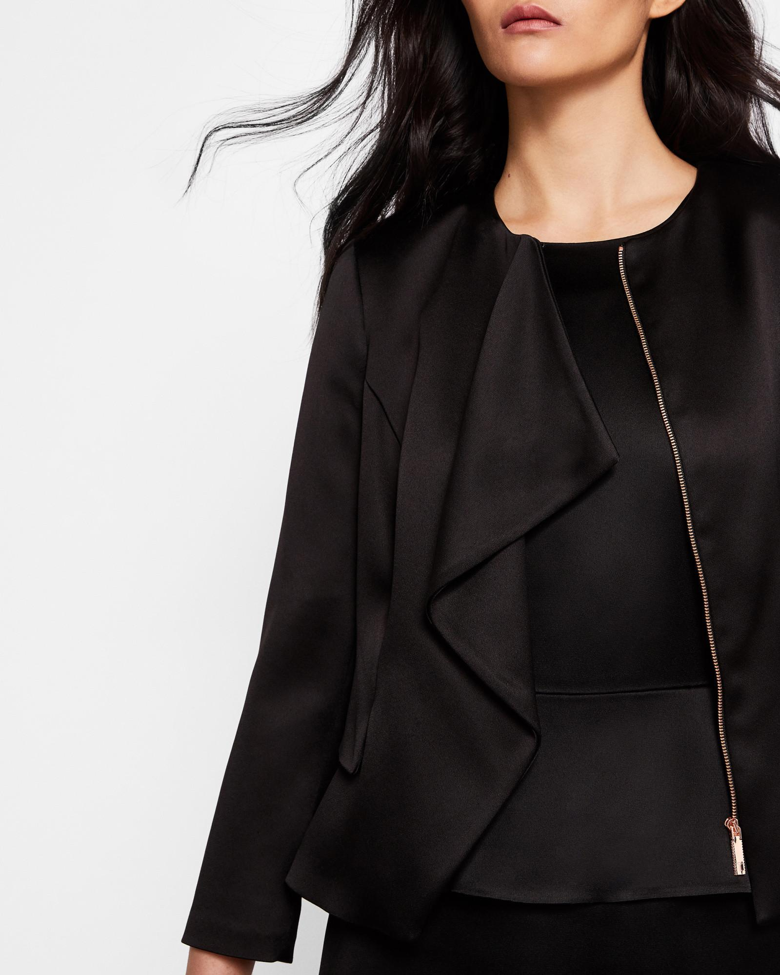 7cfe3d153 Ted Baker Ruffle Front Peplum Jacket in Black - Lyst
