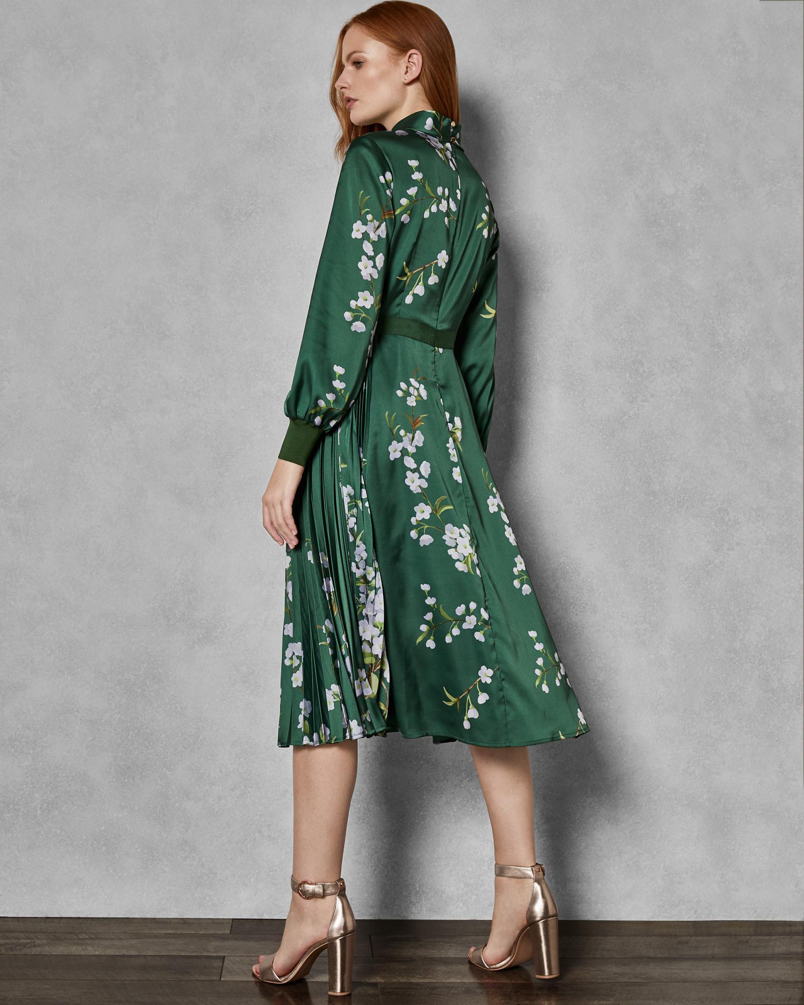 f73910d61 Ted Baker - Green Graceful Satin Midi Dress - Lyst. View fullscreen