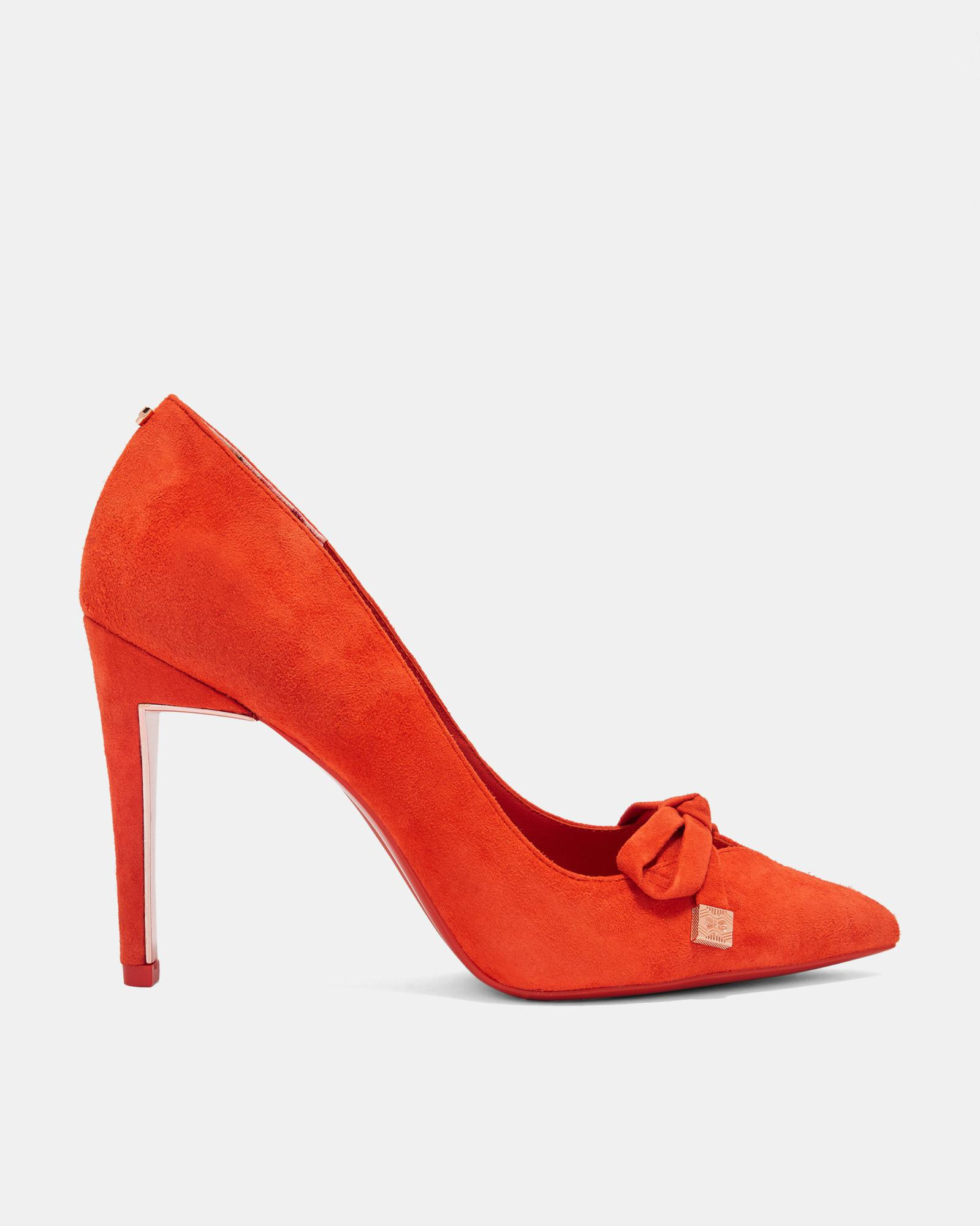 001f05d6027 Ted Baker Suede Bow Detail Courts in Red - Lyst