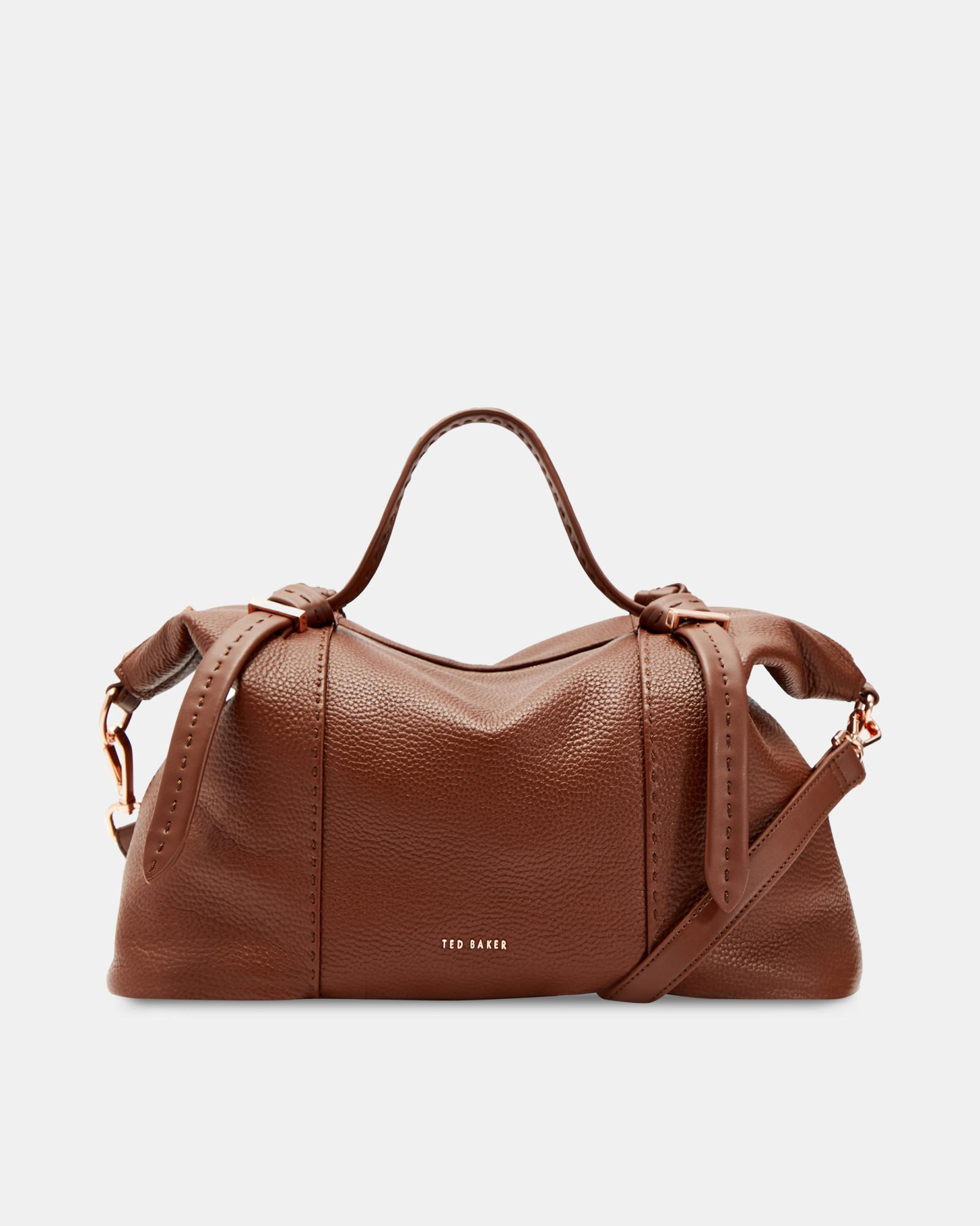 6c08bad3aebf ... Brown Knotted Handle Large Leather Tote Bag - Lyst. View fullscreen