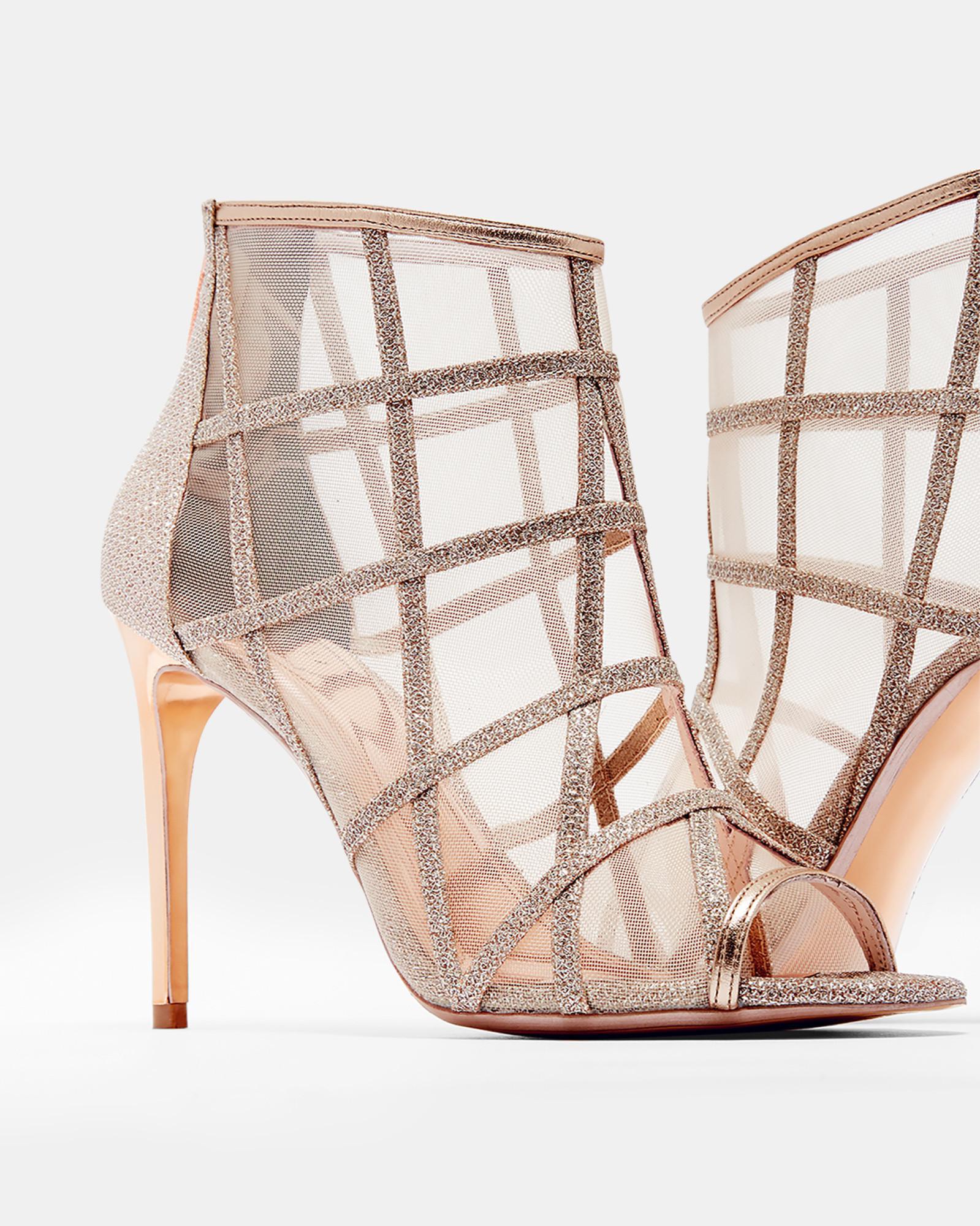 d93a8b572985cc Lyst - Ted Baker Metallic Mesh Peep-toe Boots in Metallic