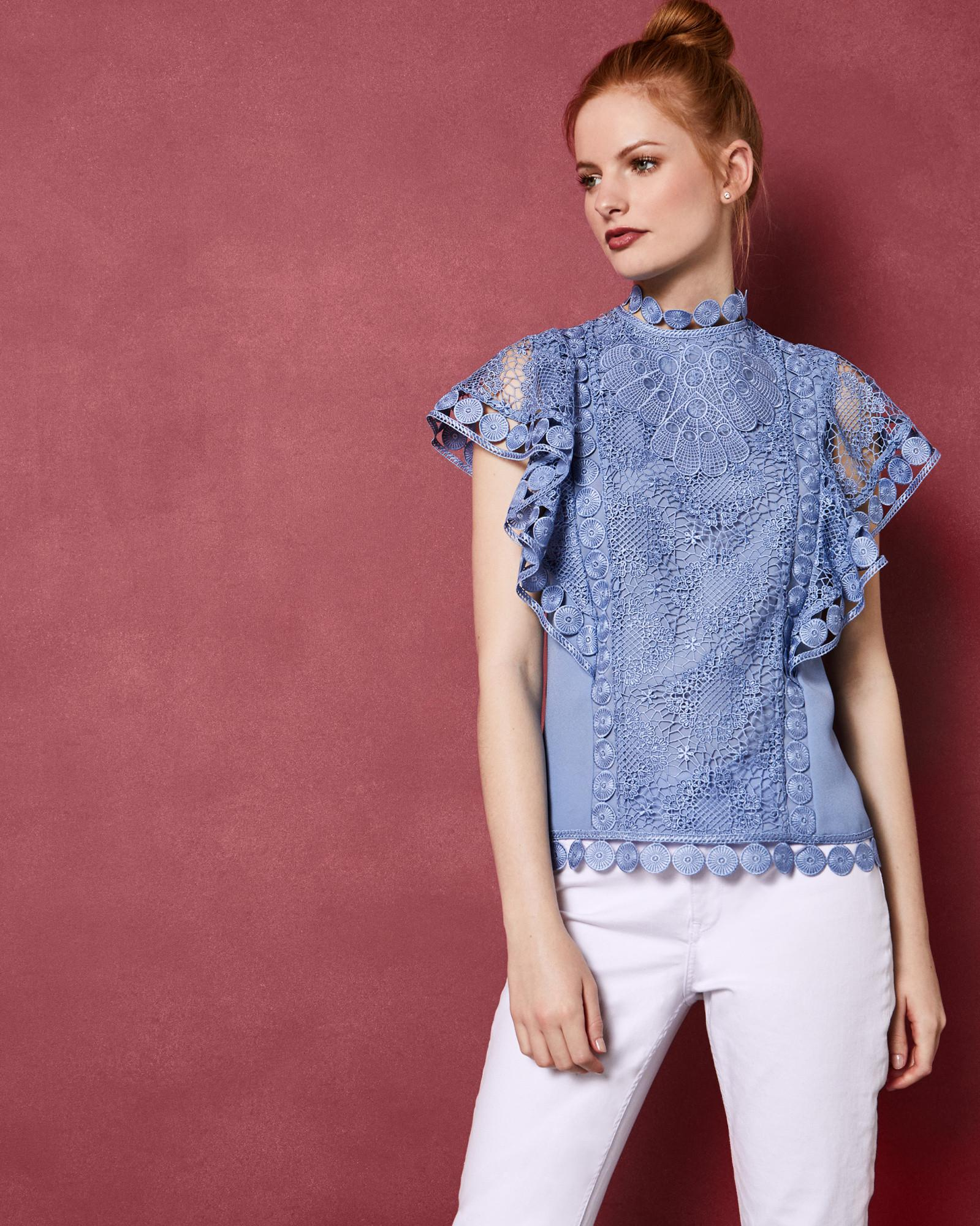 54ccf74587b3f5 Ted Baker High Neck Lace Front Top in Blue - Lyst