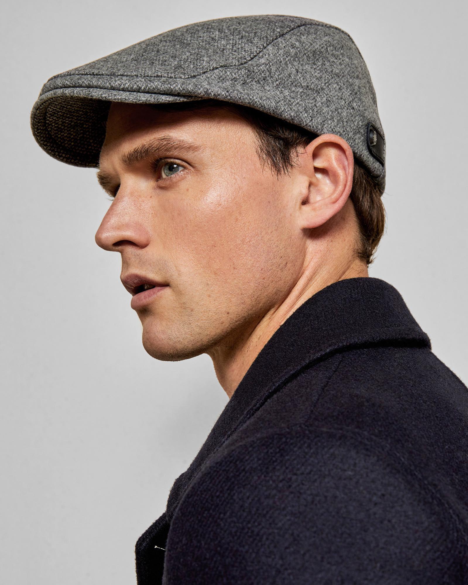 Ted Baker Textured Flat Cap in Gray for Men - Lyst b7f07c5190da
