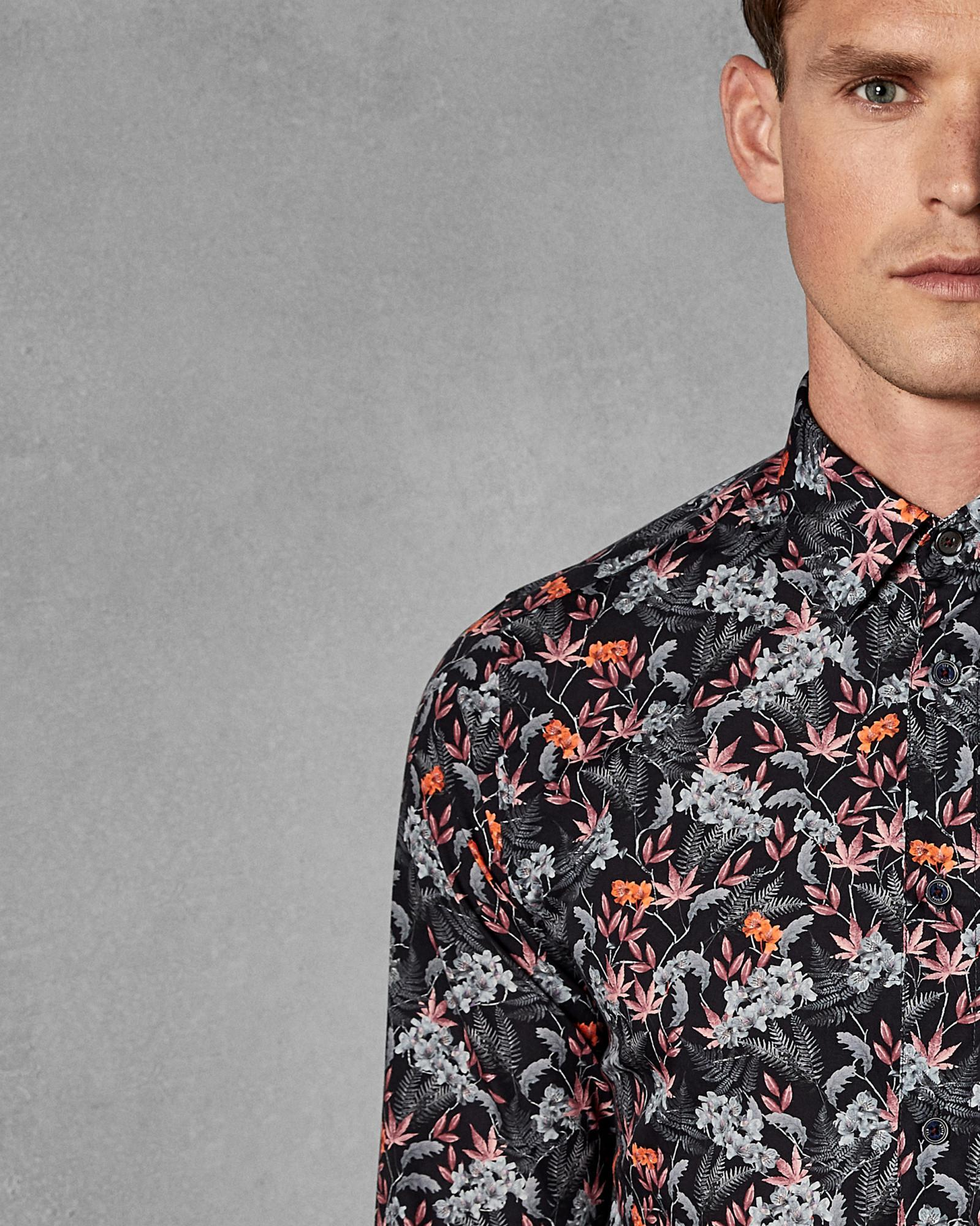 64a1abeb230e Lyst - Ted Baker Floral Cotton Shirt in Blue for Men