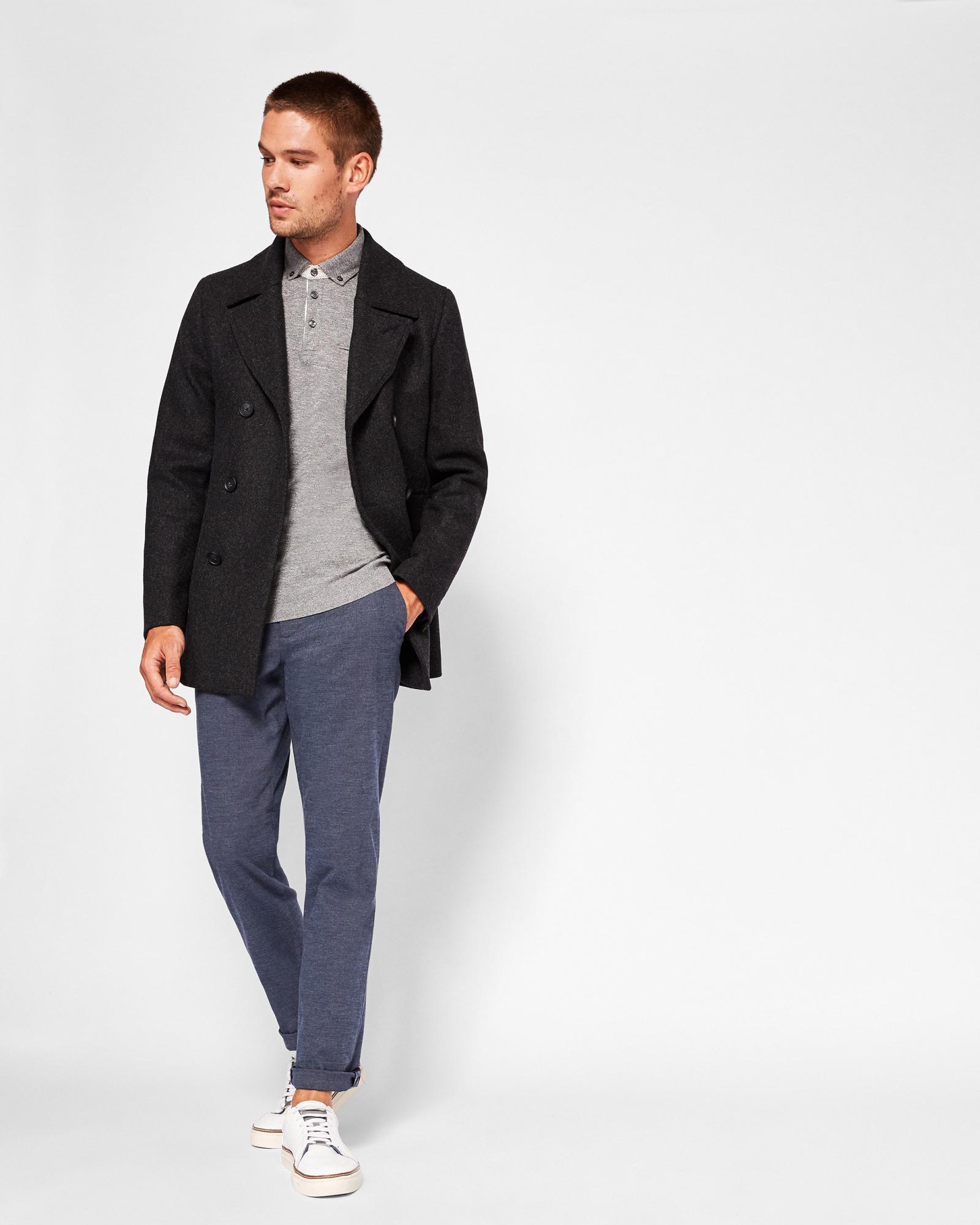 7b9fd8c520ee7f Ted Baker Wool Peacoat in Gray for Men - Lyst