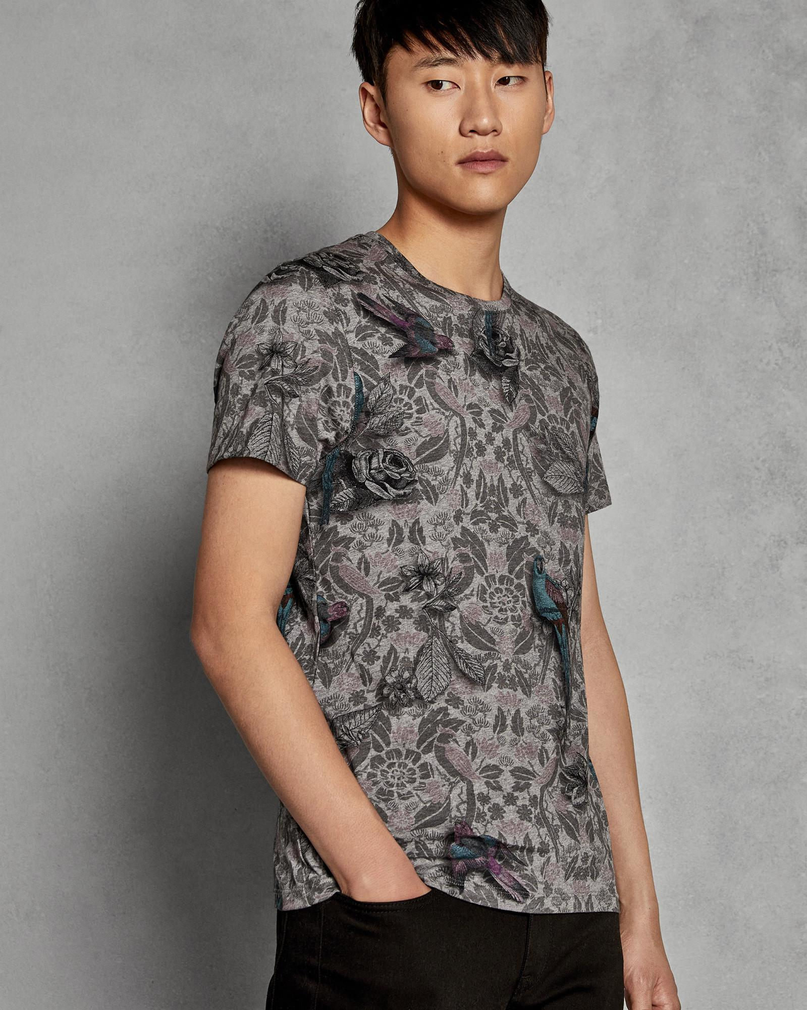 c5360f8b5bff7e Ted Baker Parrot Print Cotton T-shirt in Gray for Men - Lyst
