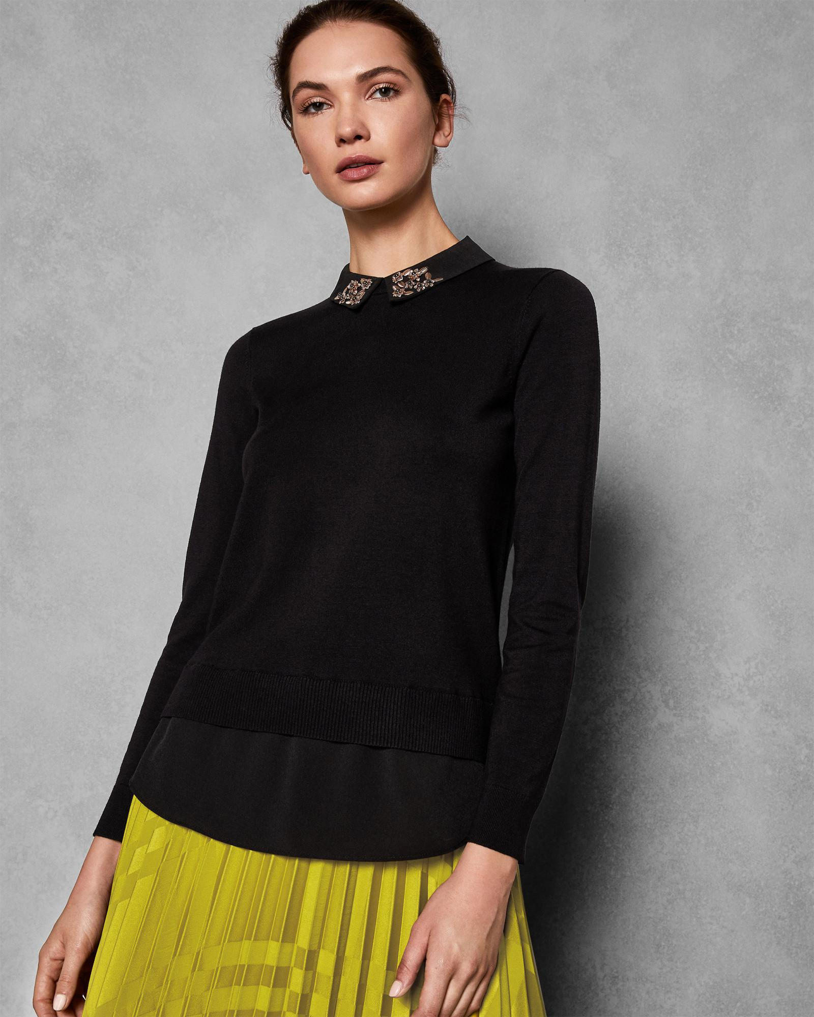 4367b26eab4 Ted Baker Embellished Collar Jumper in Black - Save 61% - Lyst