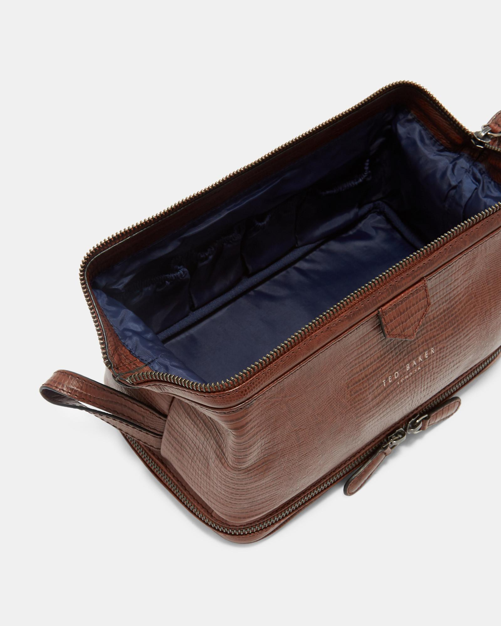 b25007ac7 Lyst - Ted Baker Croc Effect Leather Wash Bag in Brown for Men