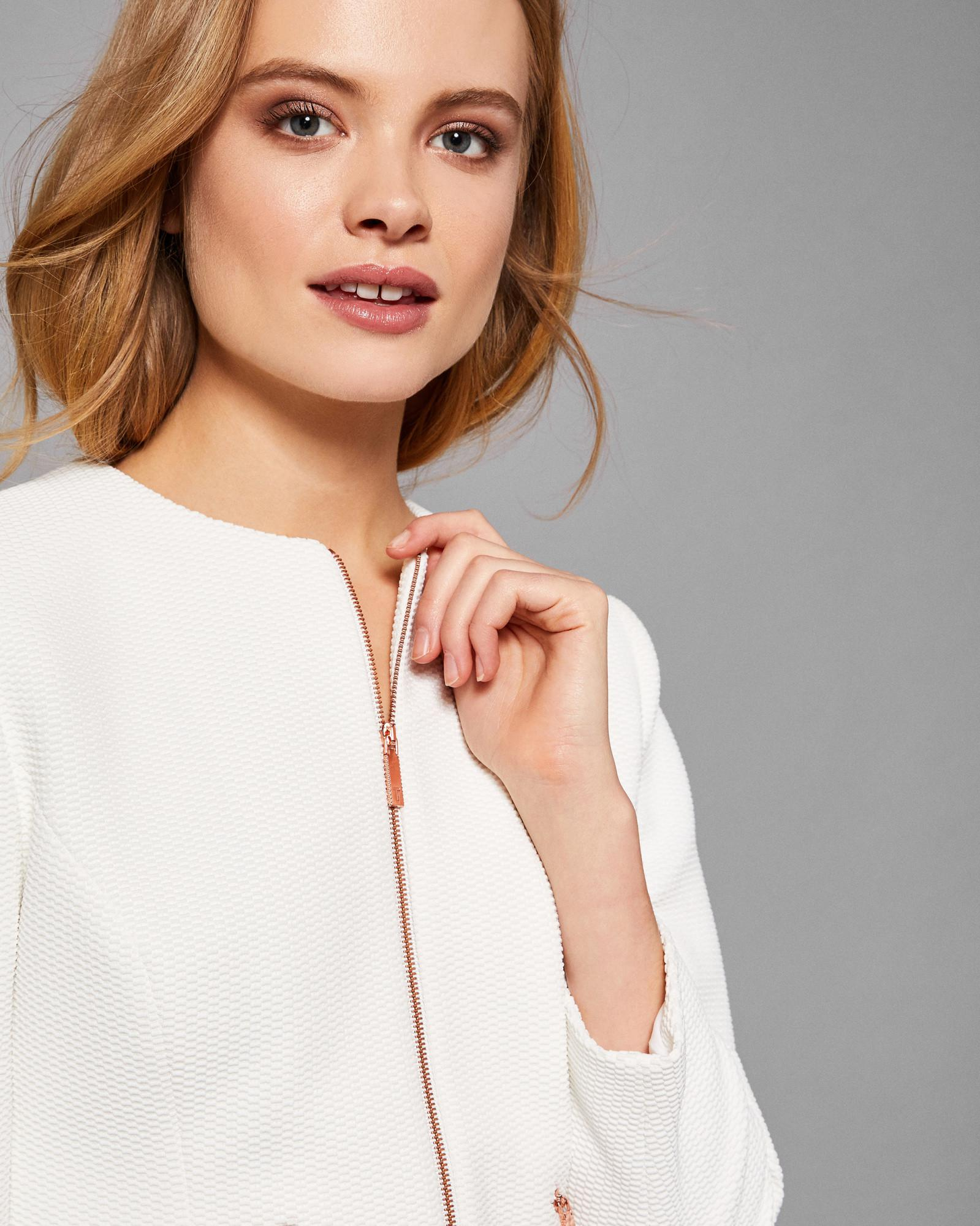 182d31965 Lyst - Ted Baker Shaped Hem Cropped Jacket in White