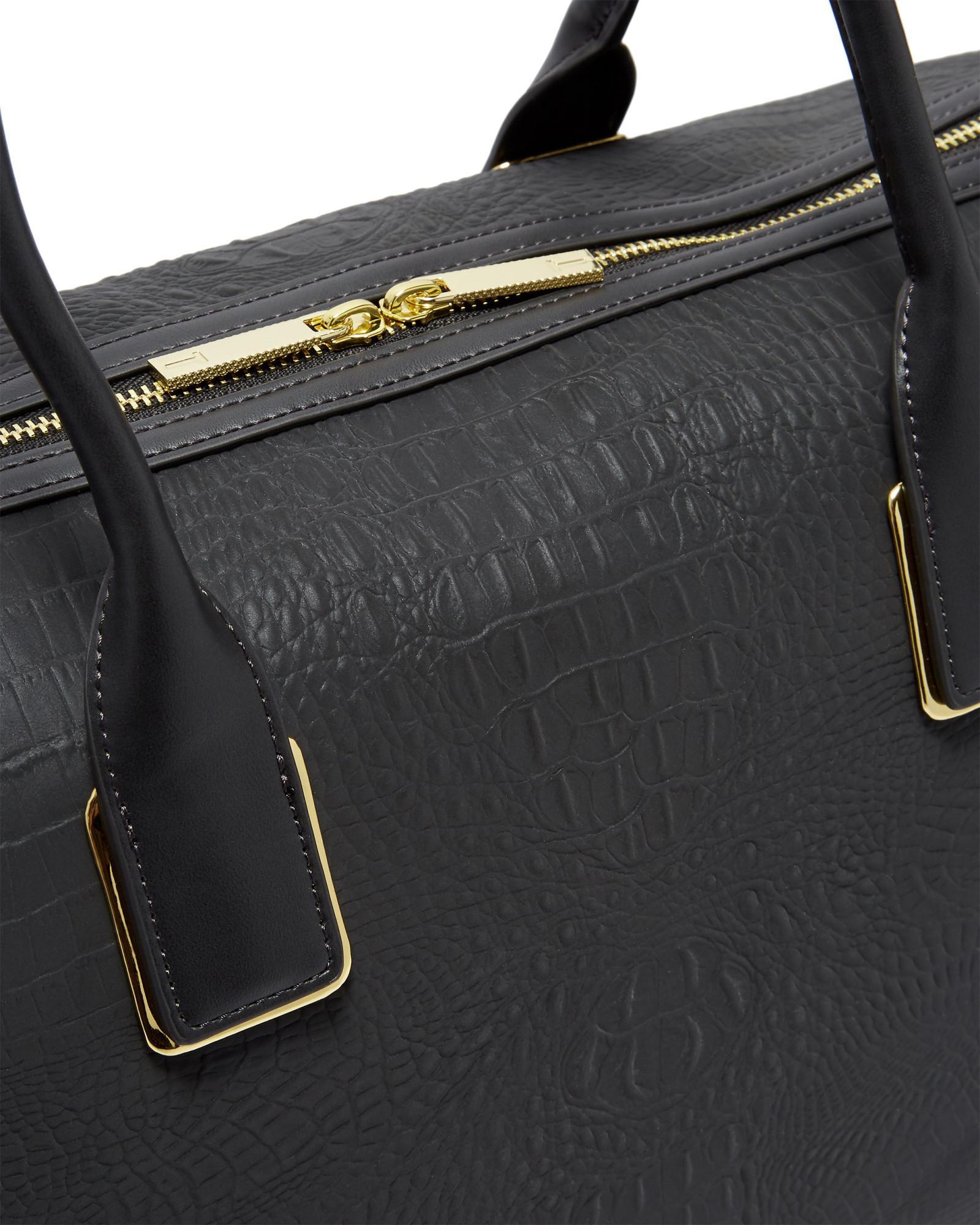 1149c27a6c43 Ted Baker Croc Embossed Duffel Bag in Black - Lyst