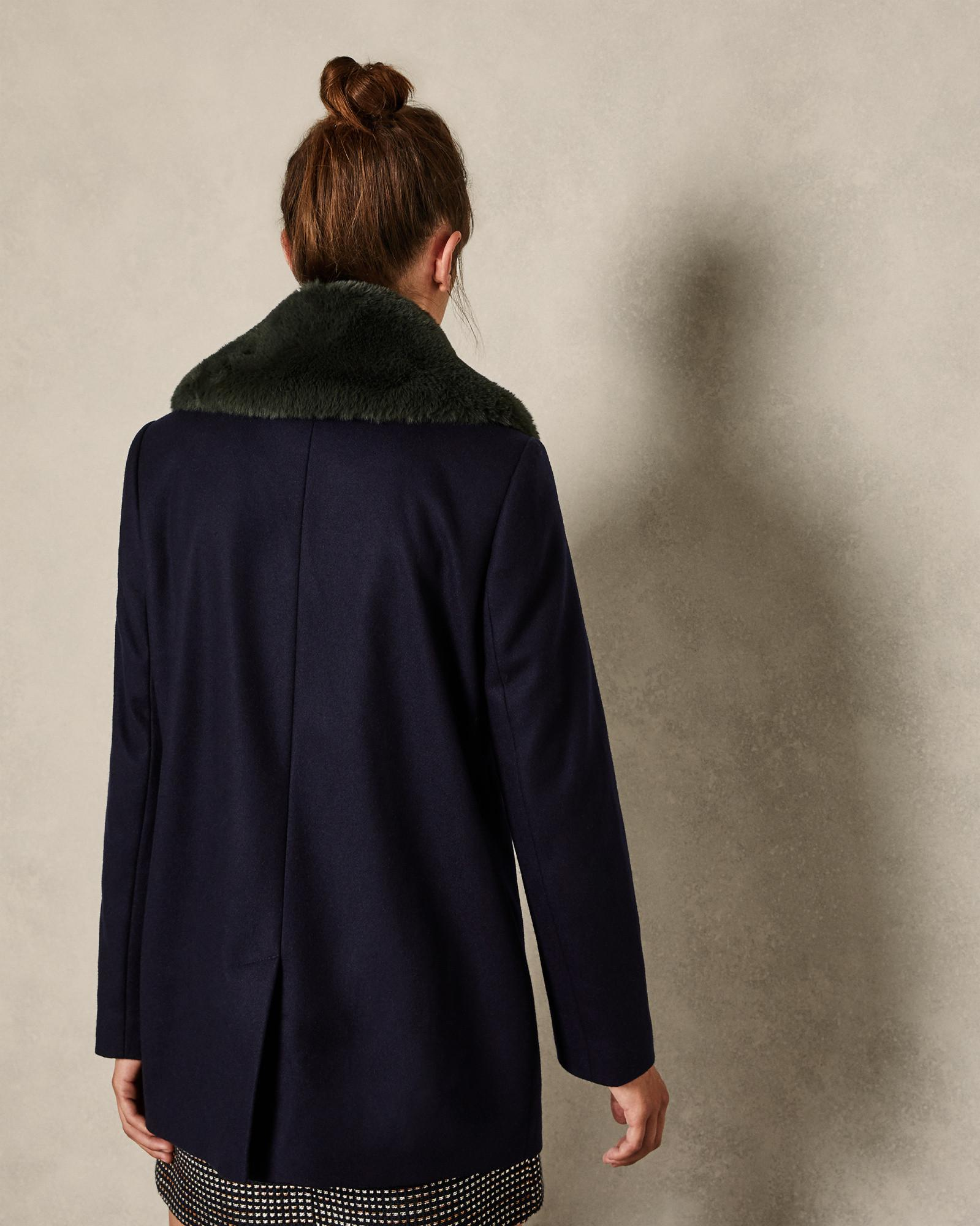 d38beb1c5 Lyst - Ted Baker Removable Faux Fur Collar Wool Pea Coat in Blue