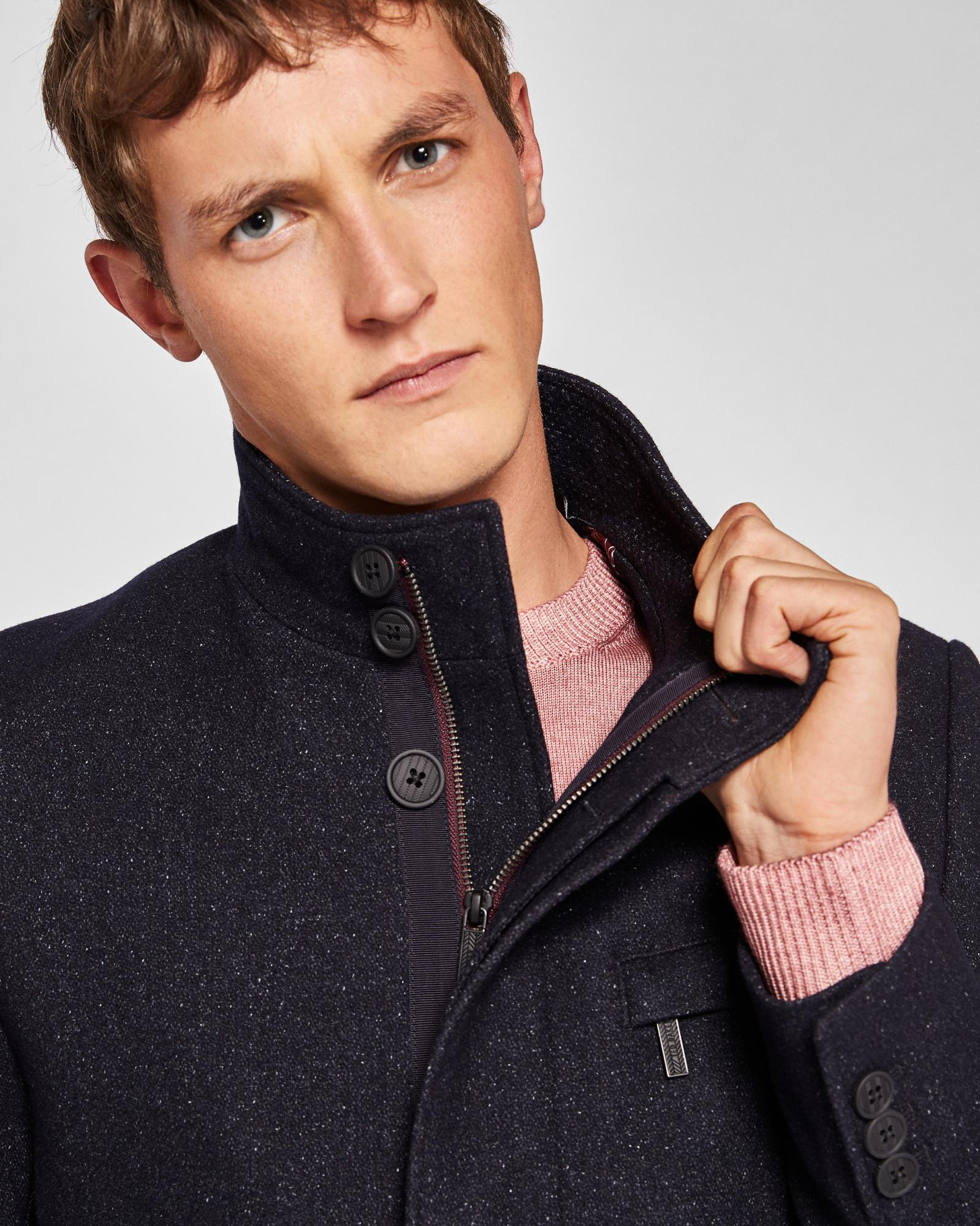 0ebc577bb3ba ... Blue Funnel Neck Wool-blend Coat for Men - Lyst. View fullscreen