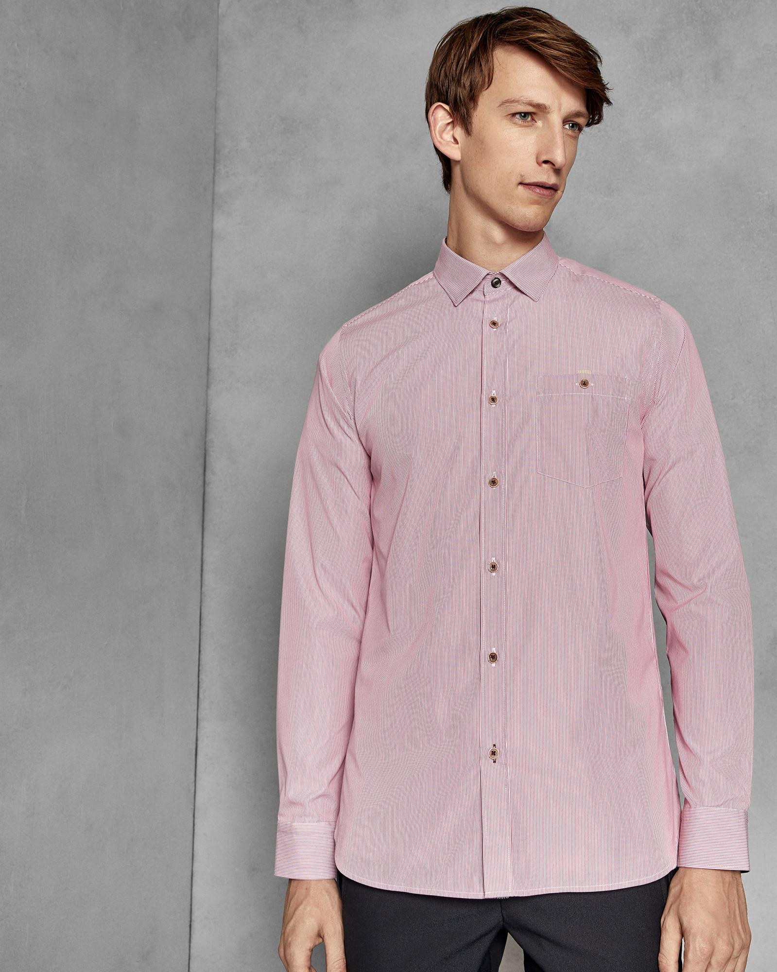 f00678c1dd7b Lyst - Ted Baker Striped Slim Fit Shirt in Pink for Men