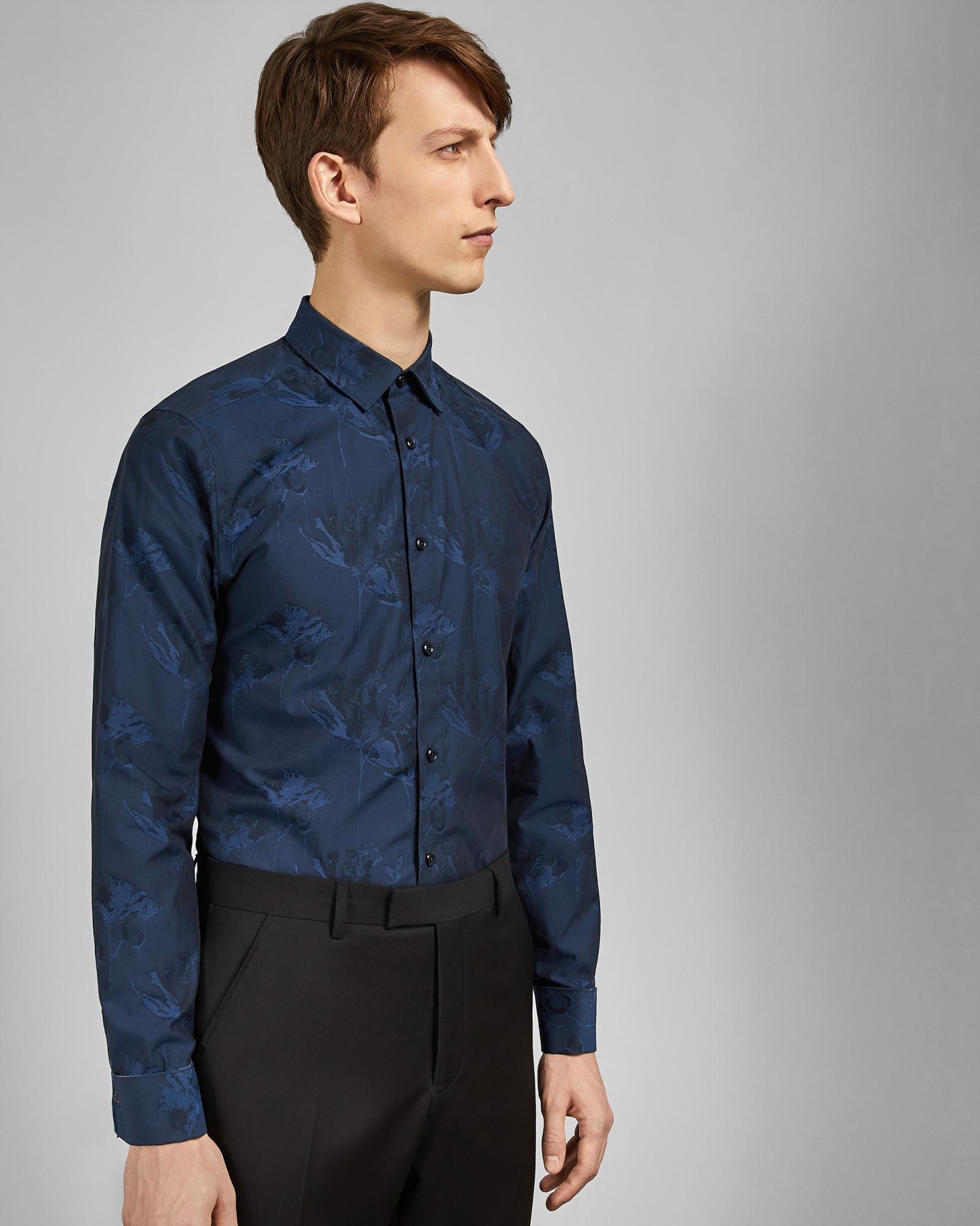 1d0359fb735e5 Ted Baker Floral Cotton Jacquard Shirt in Blue for Men - Lyst