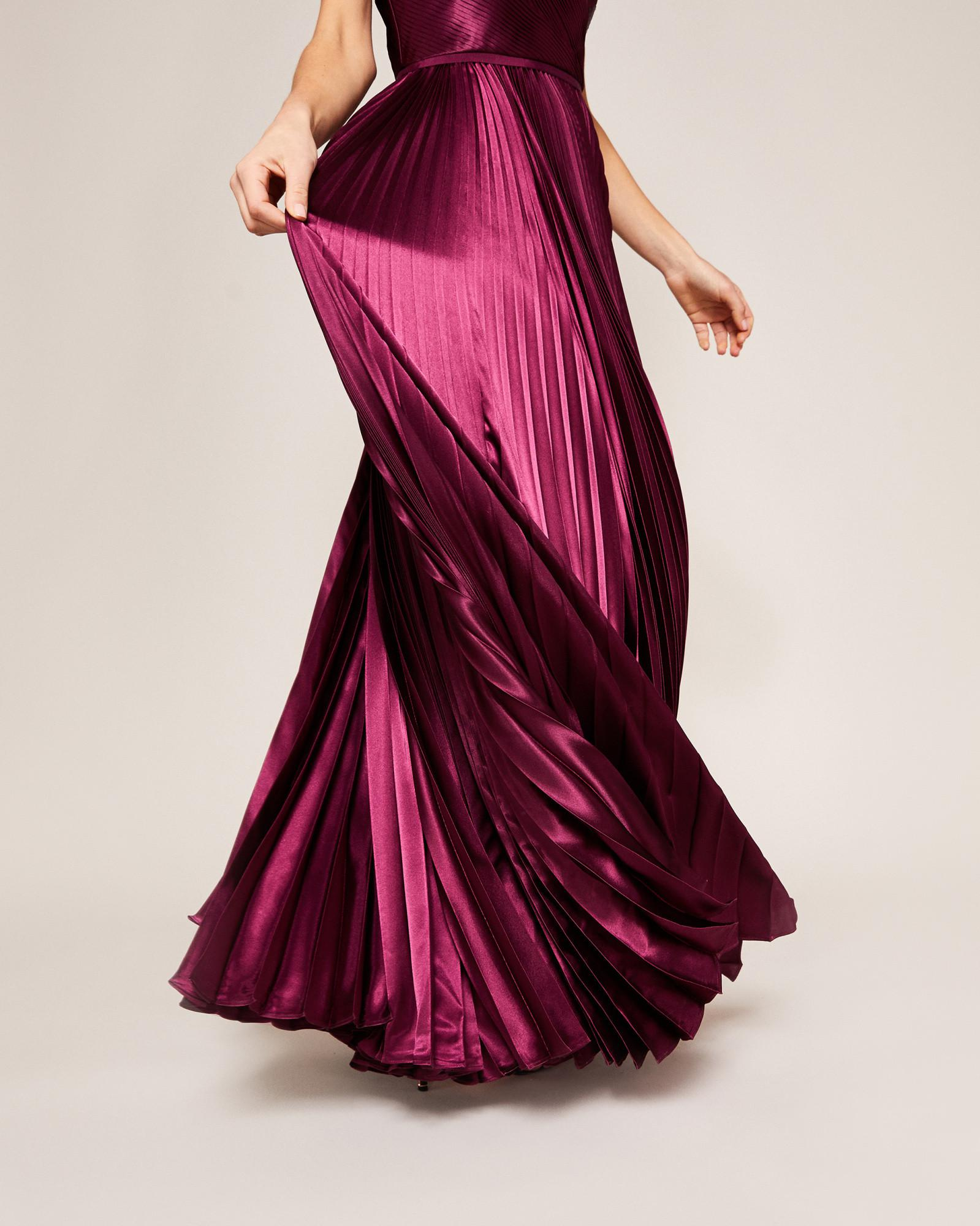 c02b9507cdb4 Lyst - Ted Baker Pleated Satin Maxi Dress in Purple