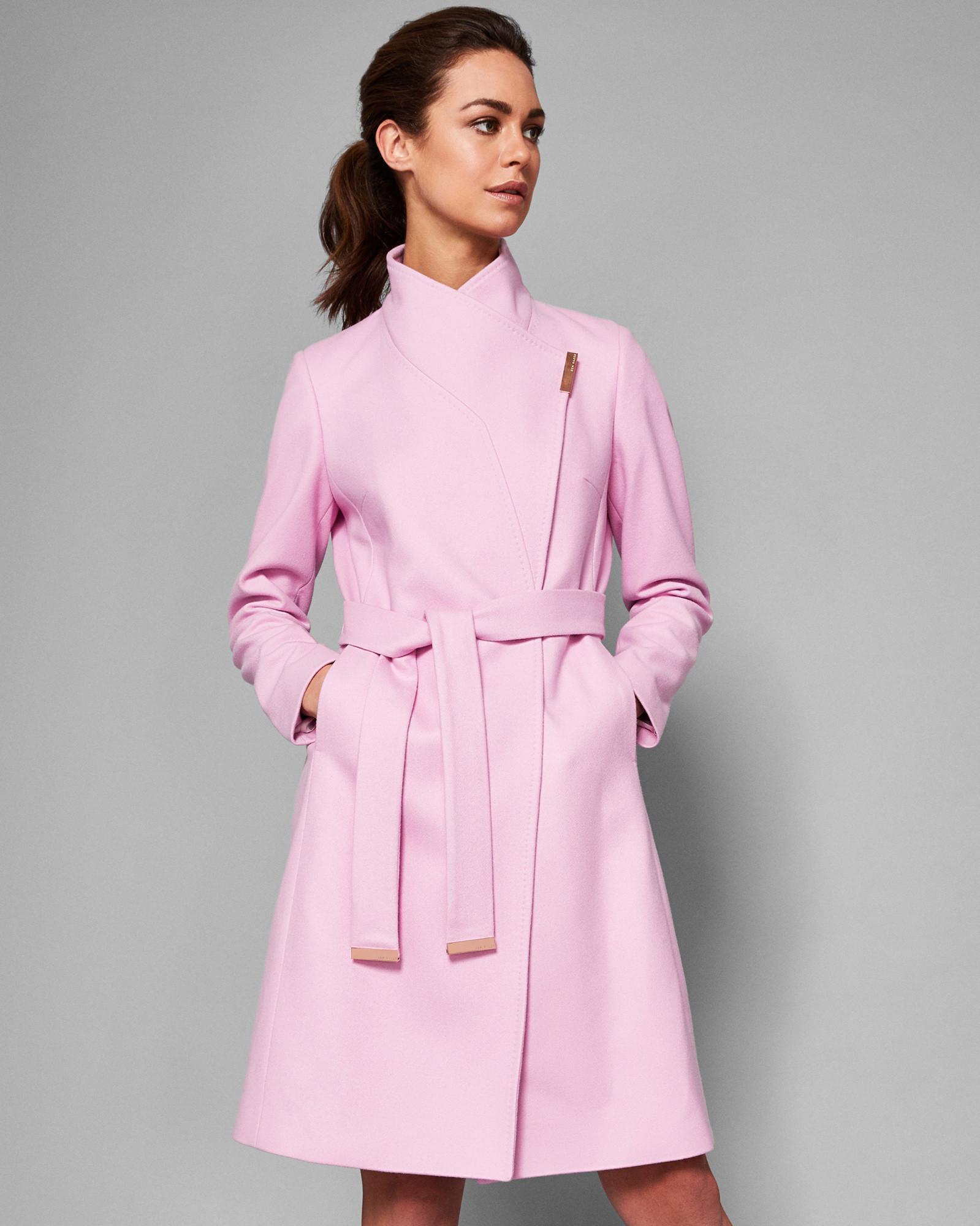 97dd6655245ea0 Ted Baker Long Wrap Coat in Pink - Lyst