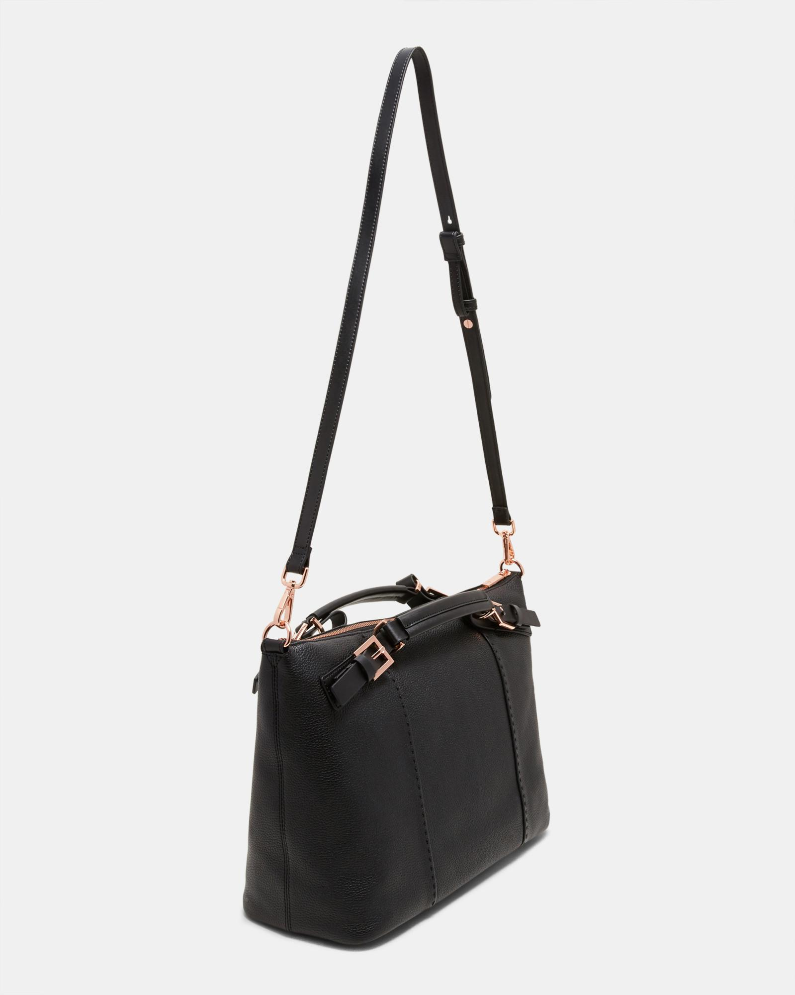 73eaefd3c Lyst - Ted Baker Pop Handle Large Leather Tote Bag in Black